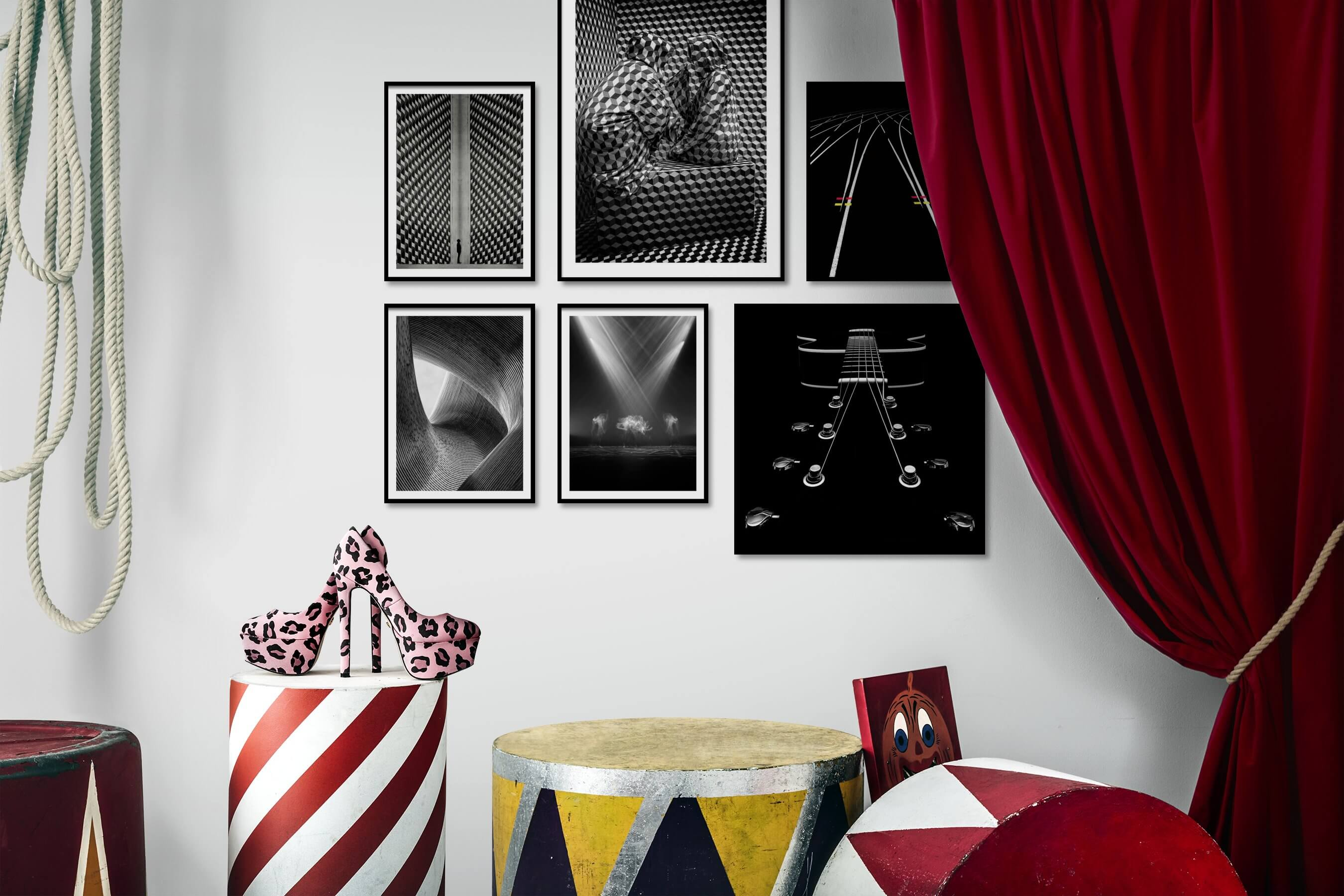 Gallery wall idea with six framed pictures arranged on a wall depicting Black & White, For the Maximalist, Artsy, For the Moderate, Dark Tones, and For the Minimalist