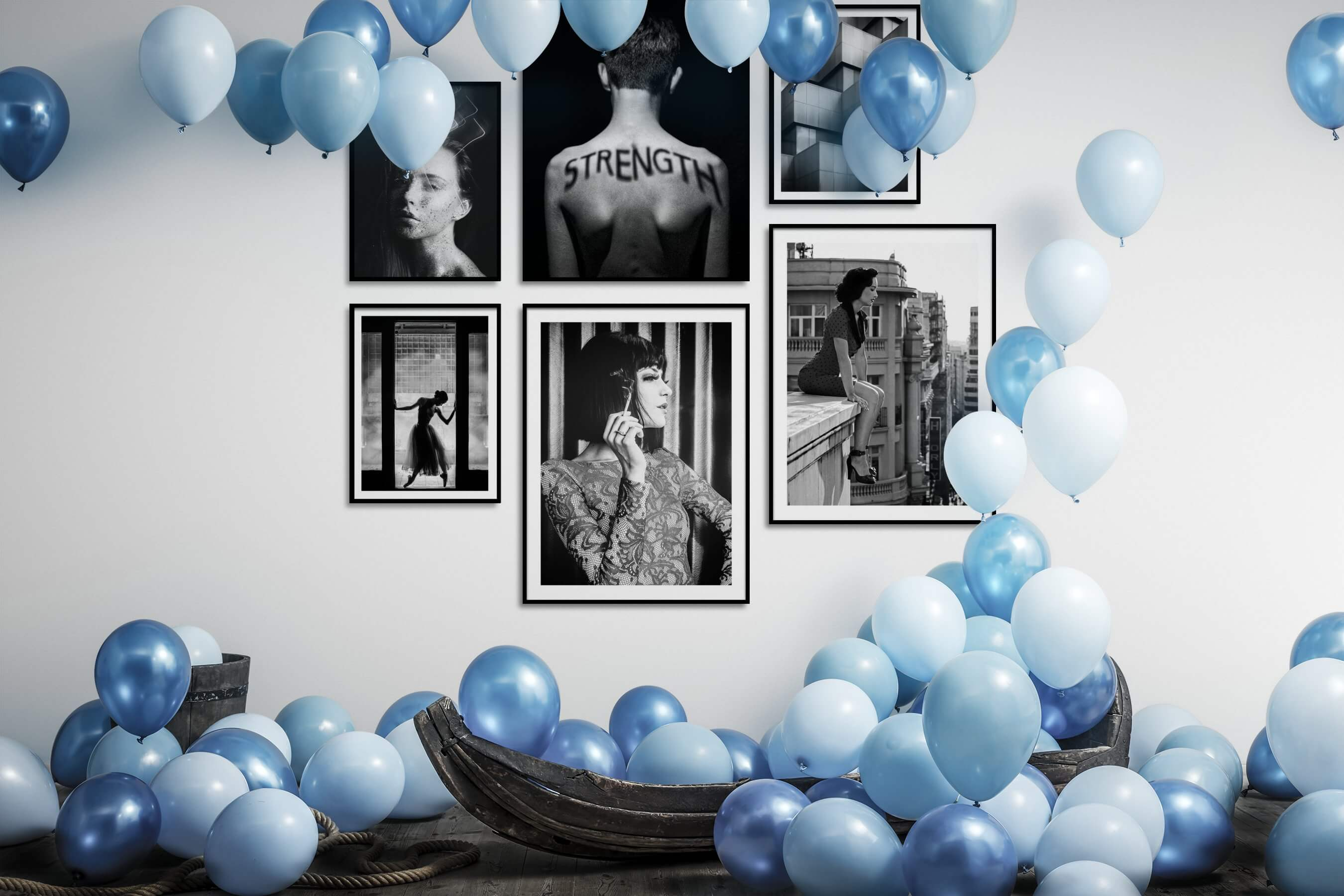 Gallery wall idea with six framed pictures arranged on a wall depicting Fashion & Beauty, Black & White, Dark Tones, For the Moderate, Artsy, Vintage, and City Life
