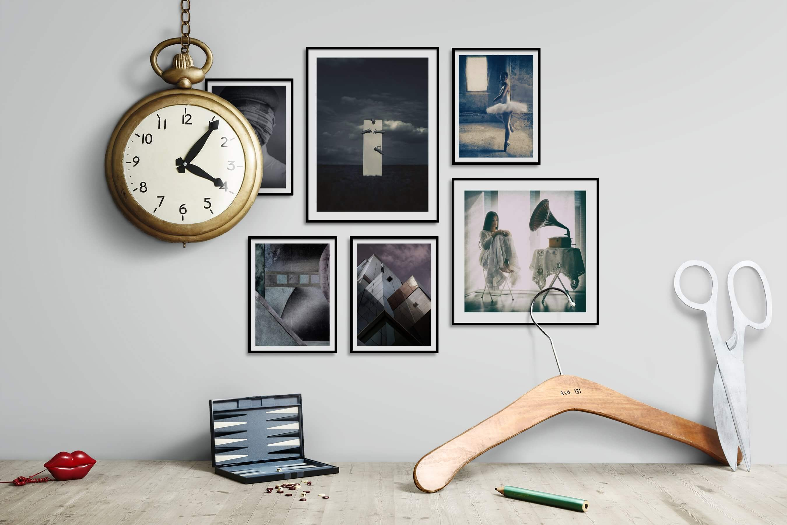 Gallery wall idea with six framed pictures arranged on a wall depicting Artsy, Black & White, For the Moderate, City Life, Fashion & Beauty, and Vintage