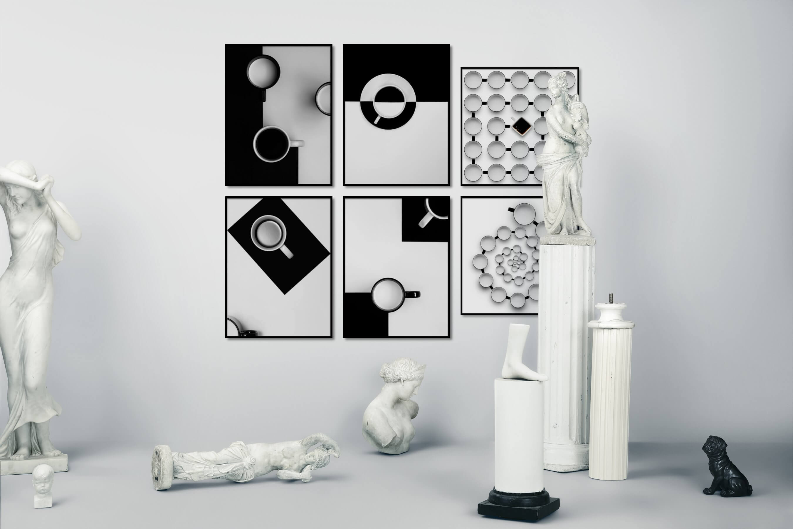 Gallery wall idea with six framed pictures arranged on a wall depicting Black & White, For the Minimalist, and Bright Tones