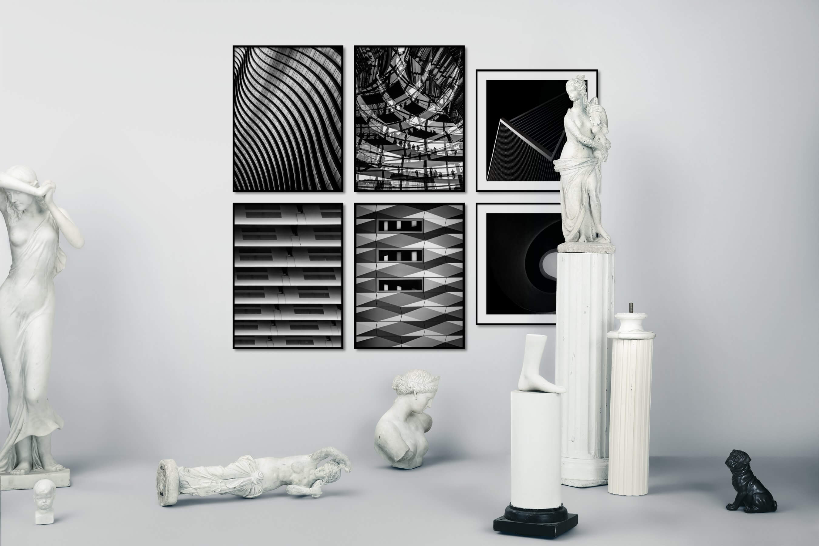 Gallery wall idea with six framed pictures arranged on a wall depicting Black & White, For the Maximalist, City Life, Dark Tones, and For the Minimalist