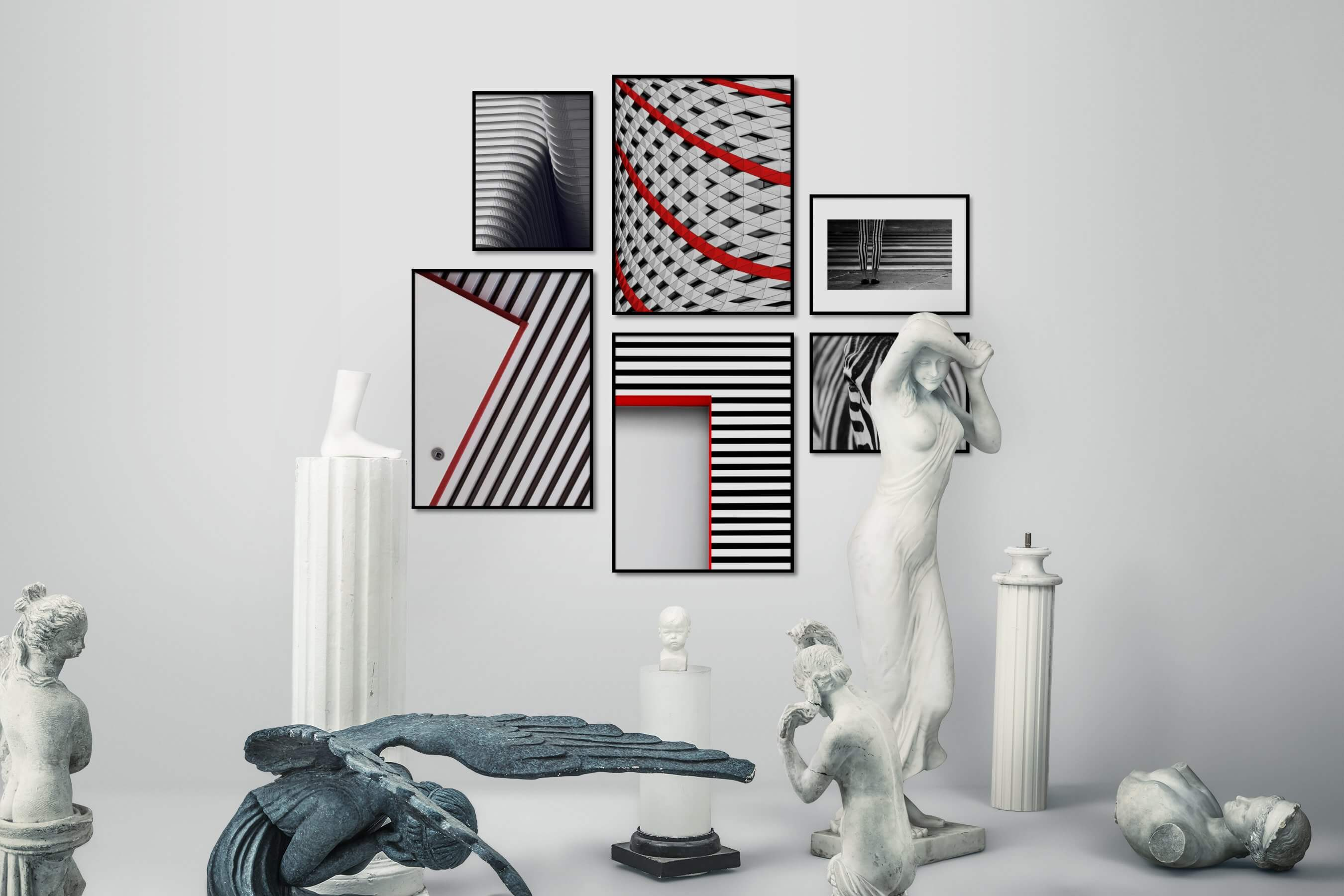 Gallery wall idea with six framed pictures arranged on a wall depicting Black & White, For the Moderate, For the Maximalist, Fashion & Beauty, City Life, and Animals