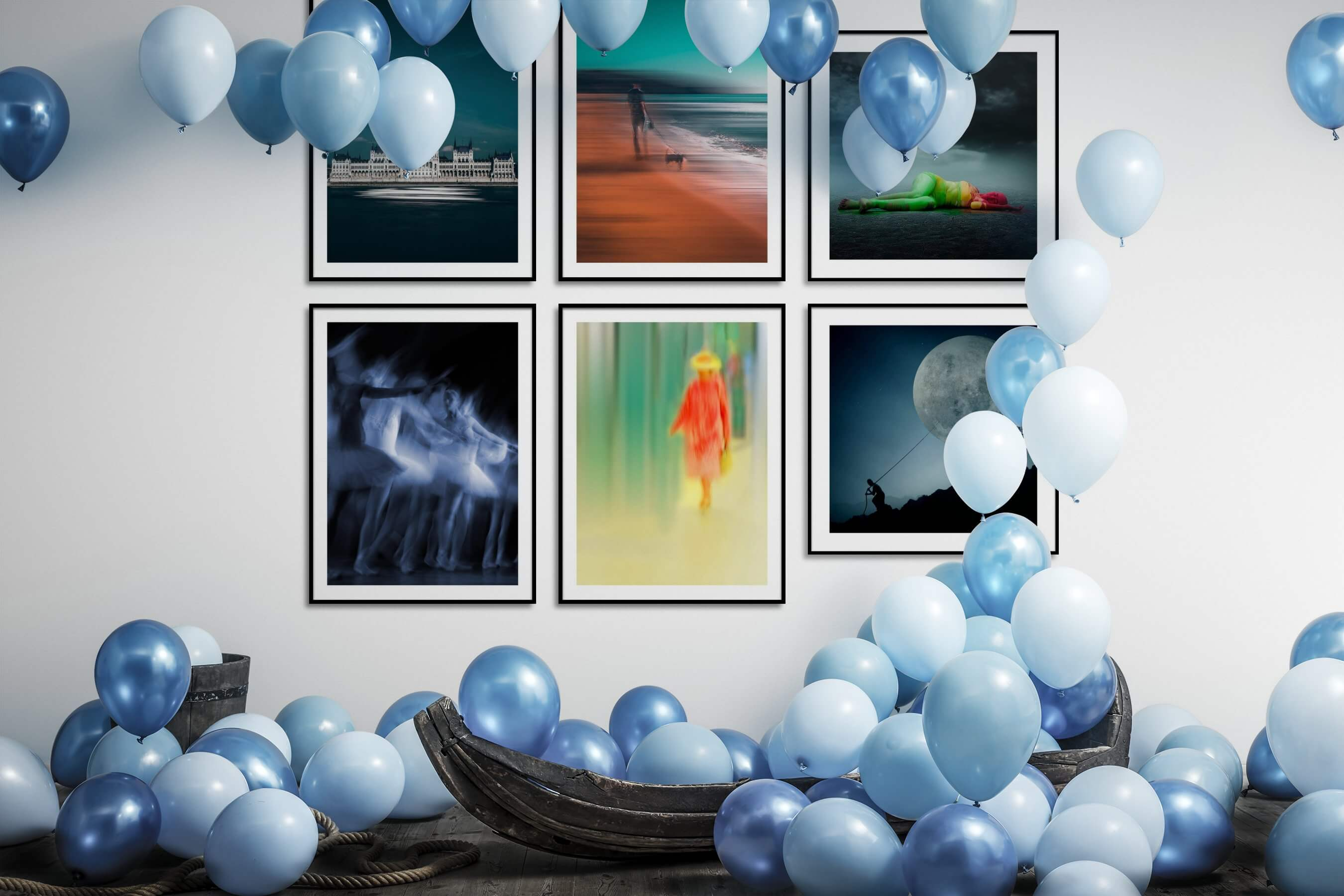 Gallery wall idea with six framed pictures arranged on a wall depicting For the Minimalist, City Life, For the Moderate, Beach & Water, Fashion & Beauty, and Artsy