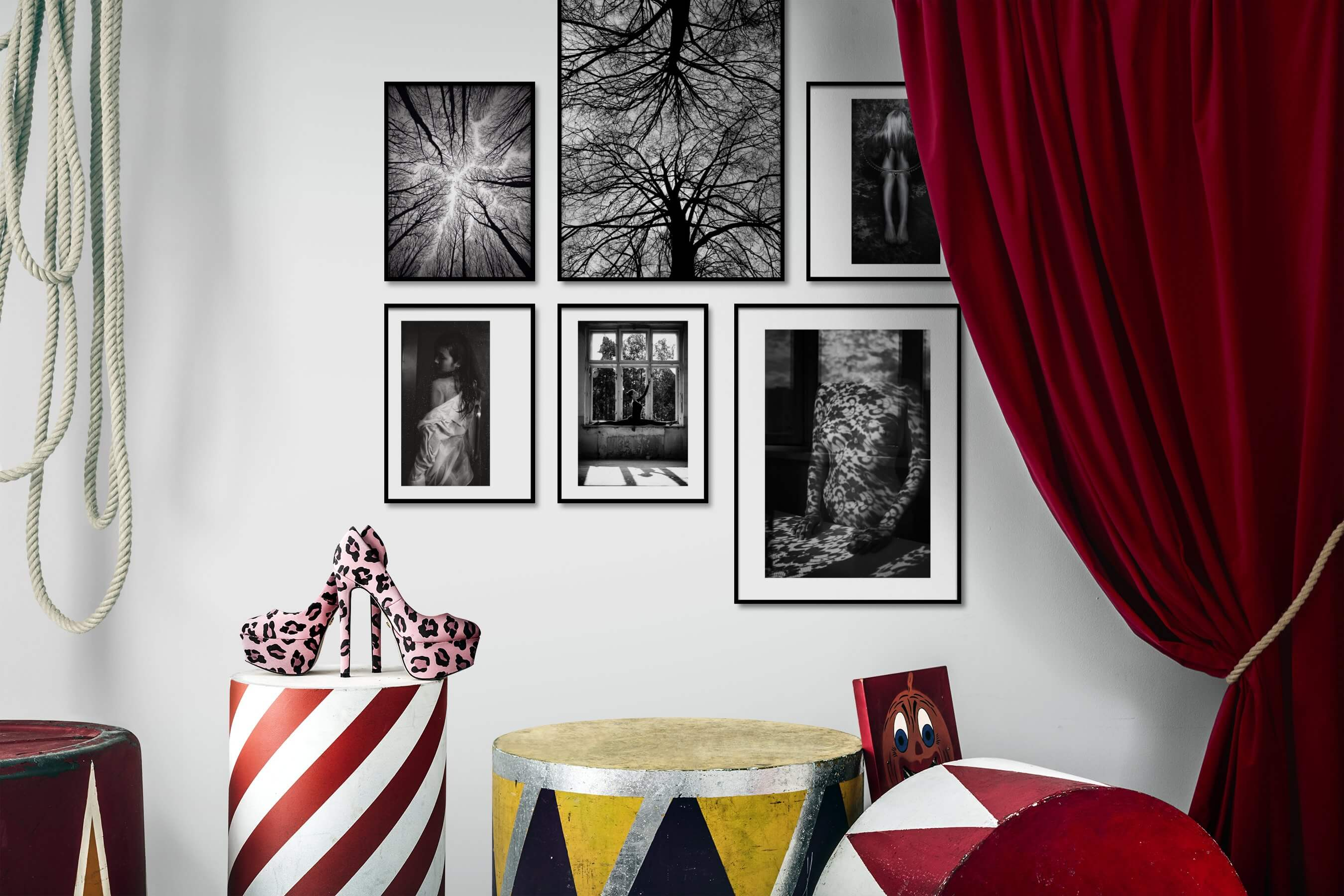 Gallery wall idea with six framed pictures arranged on a wall depicting Black & White, For the Moderate, Nature, For the Maximalist, Fashion & Beauty, Artsy, and Bold