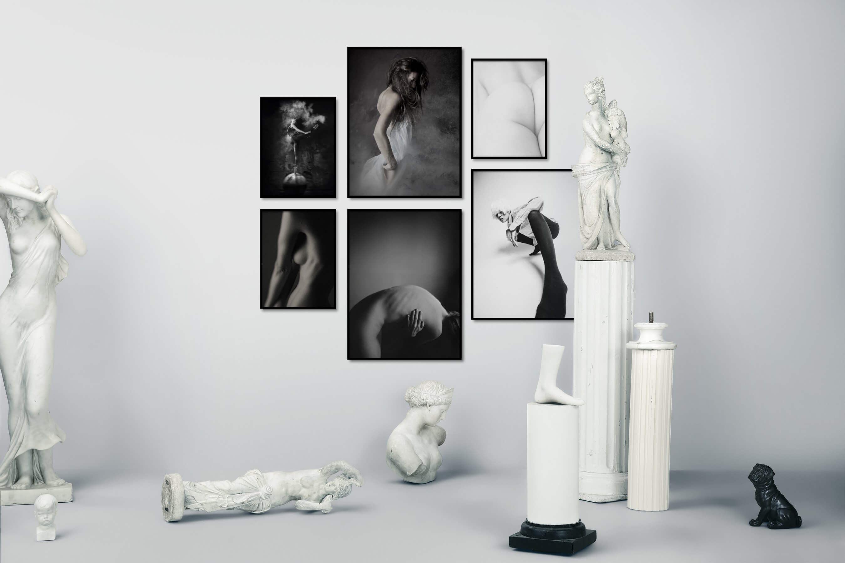 Gallery wall idea with six framed pictures arranged on a wall depicting Fashion & Beauty, Black & White, Dark Tones, For the Moderate, Artsy, For the Minimalist, and Bright Tones