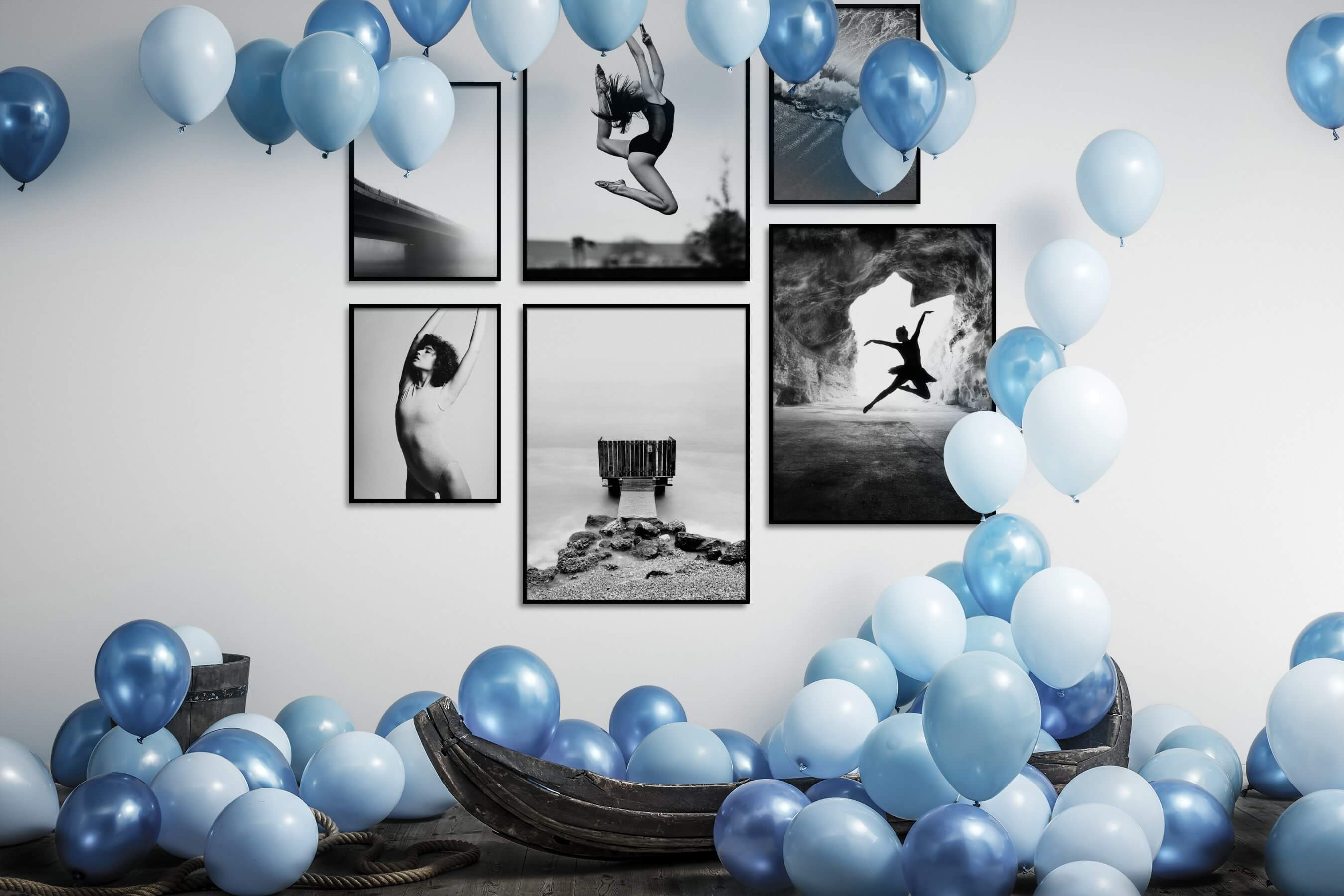 Gallery wall idea with six framed pictures arranged on a wall depicting Black & White, Bright Tones, For the Minimalist, Mindfulness, Fashion & Beauty, Beach & Water, and For the Moderate
