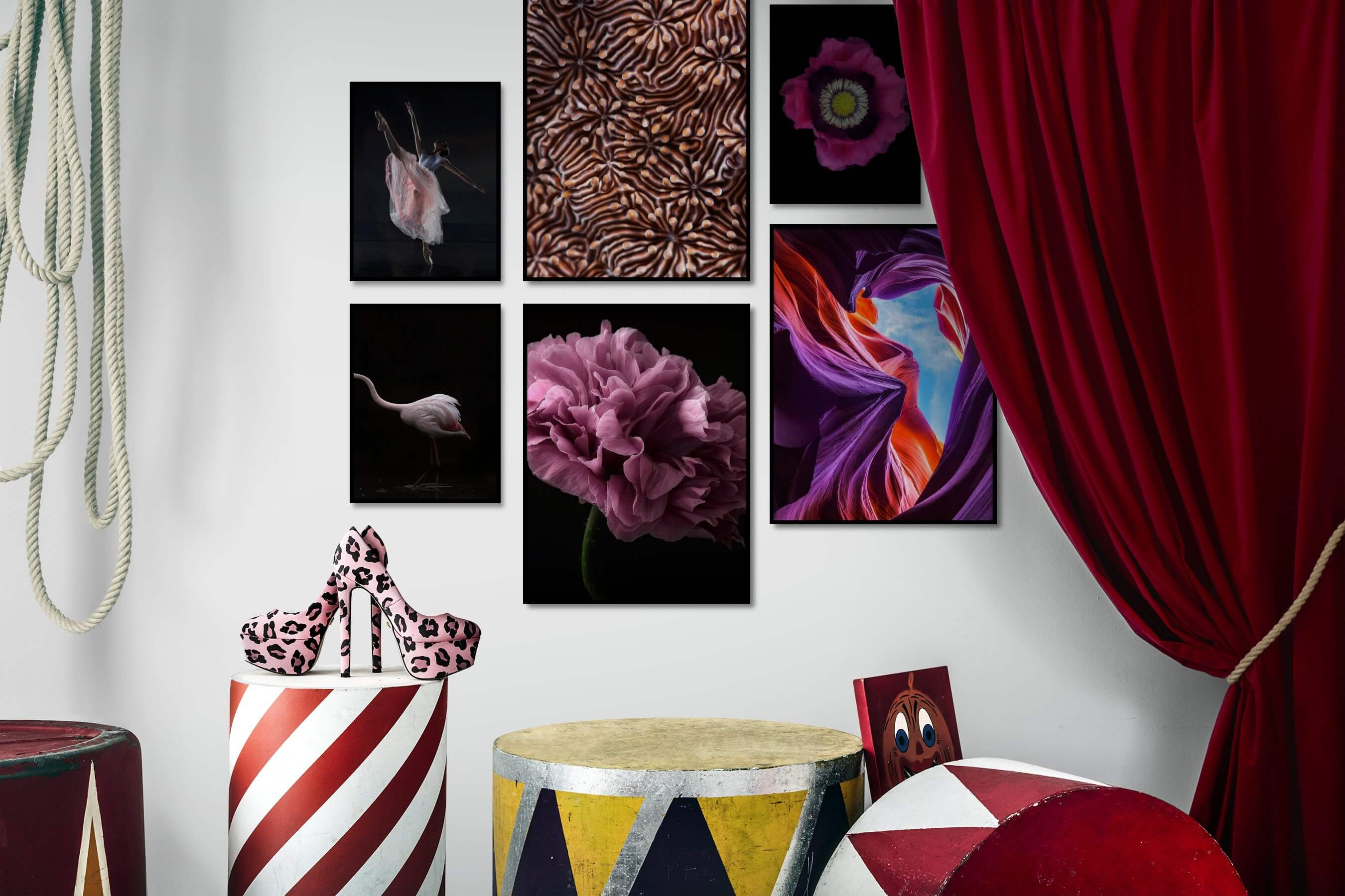 Gallery wall idea with six framed pictures arranged on a wall depicting Fashion & Beauty, Dark Tones, For the Minimalist, For the Maximalist, Nature, Animals, For the Moderate, Flowers & Plants, and Colorful
