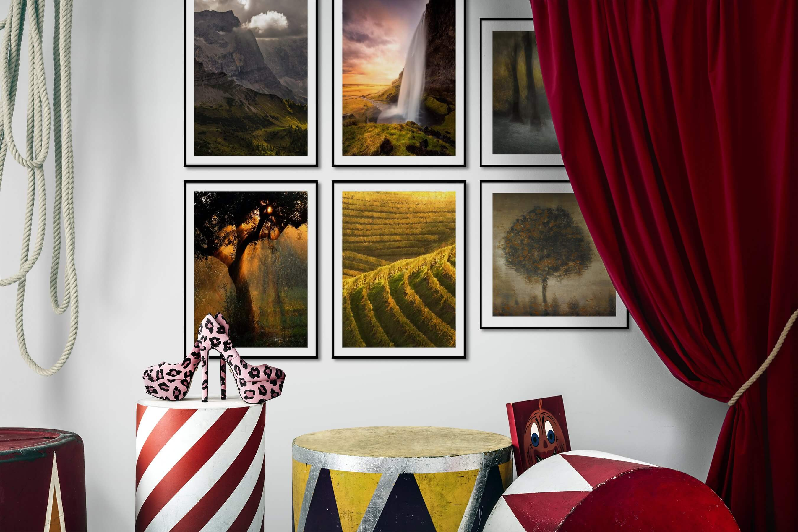Gallery wall idea with six framed pictures arranged on a wall depicting Nature, Mindfulness, For the Moderate, Country Life, and Vintage