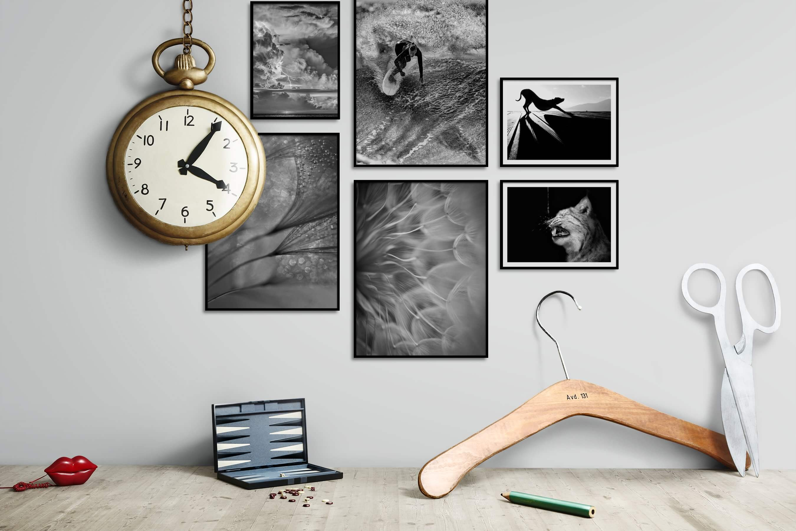 Gallery wall idea with six framed pictures arranged on a wall depicting Black & White, Nature, Beach & Water, Flowers & Plants, For the Minimalist, and Animals