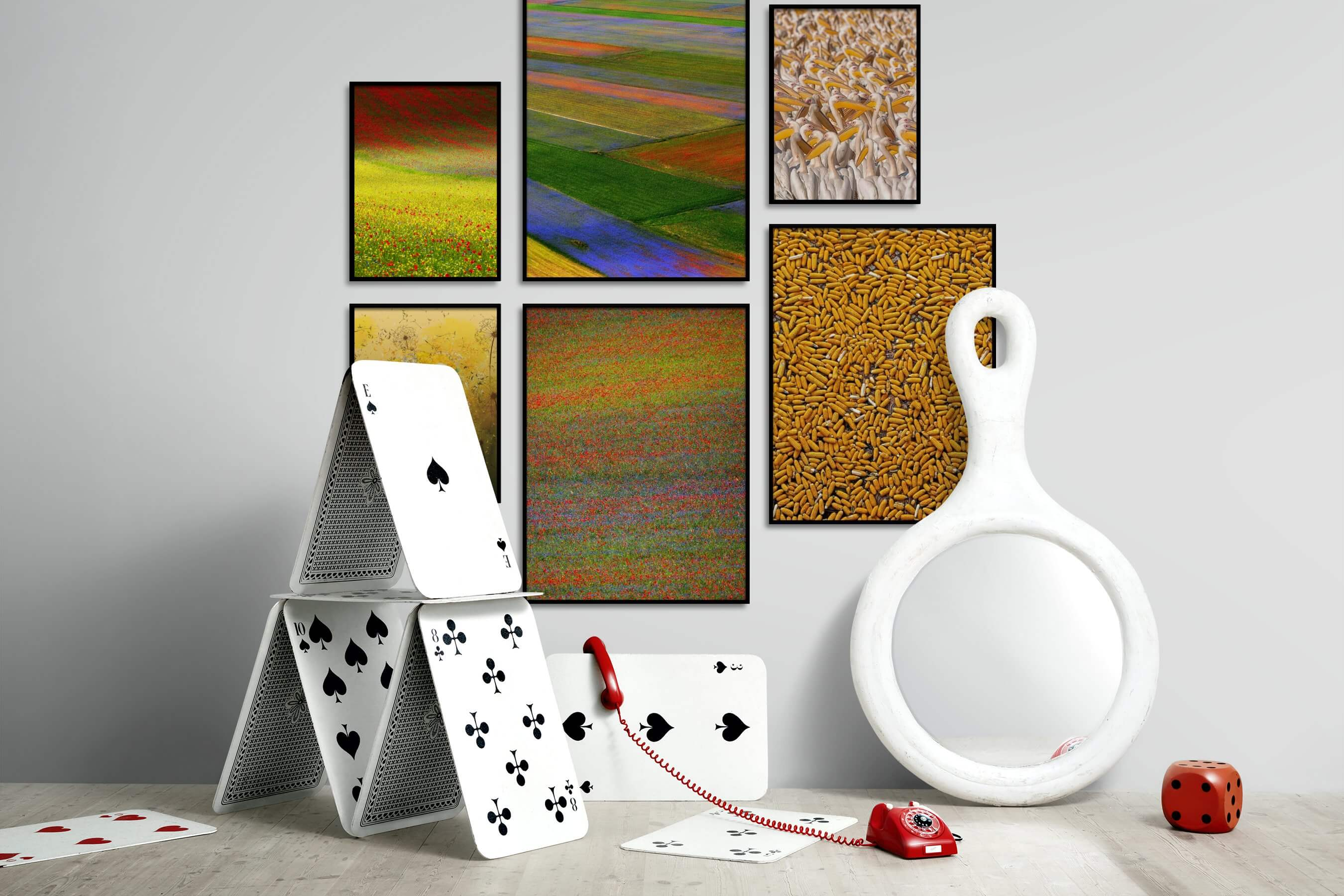 Gallery wall idea with six framed pictures arranged on a wall depicting Colorful, For the Moderate, Flowers & Plants, Country Life, For the Maximalist, Fashion & Beauty, and Animals