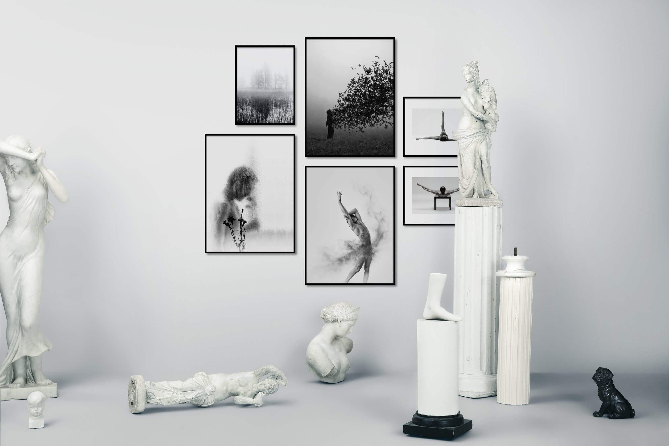 Gallery wall idea with six framed pictures arranged on a wall depicting Black & White, For the Minimalist, Nature, Artsy, Bright Tones, Flowers & Plants, Fashion & Beauty, and Mindfulness