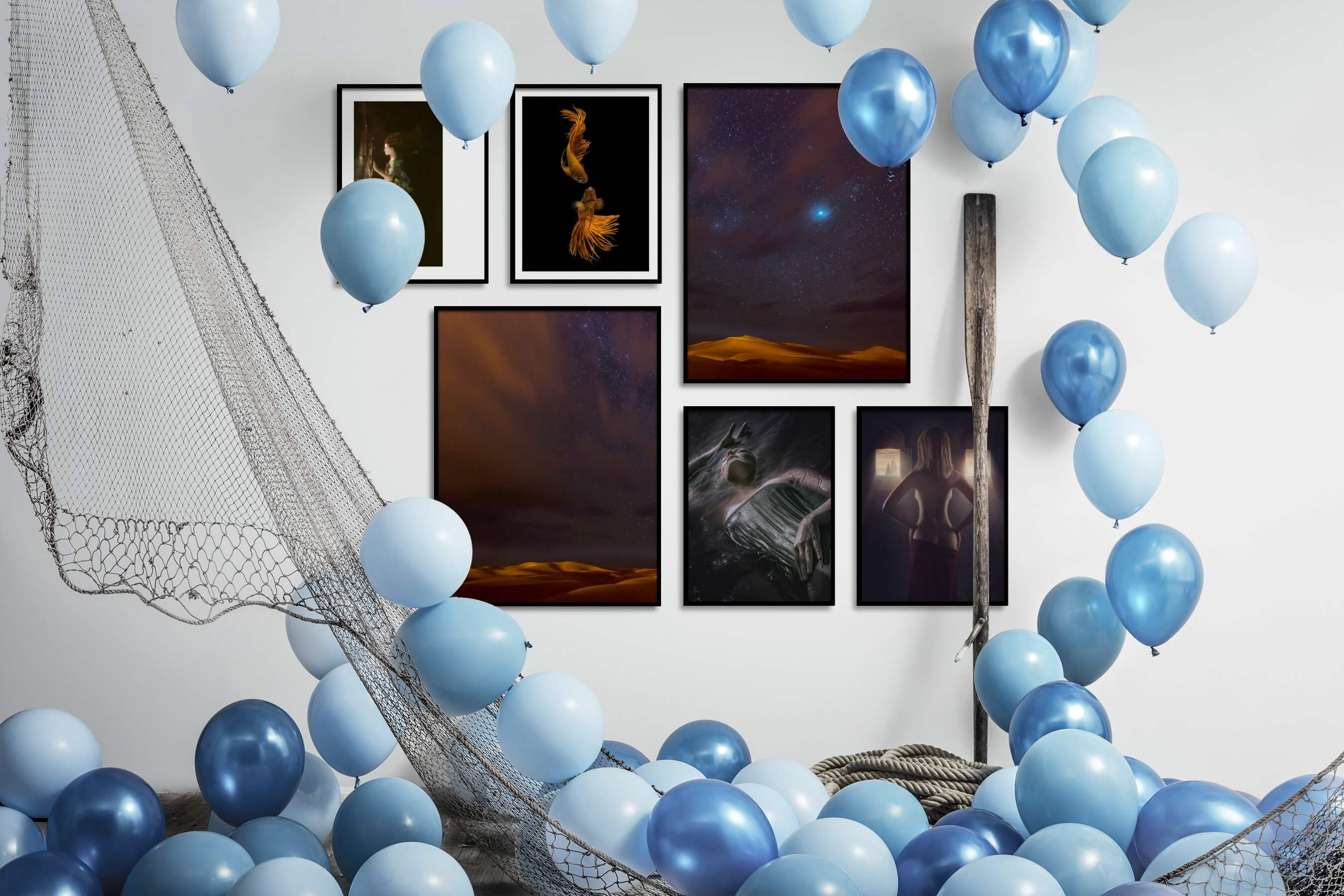 Gallery wall idea with six framed pictures arranged on a wall depicting Fashion & Beauty, Beach & Water, Dark Tones, For the Minimalist, Animals, For the Moderate, Nature, and Artsy