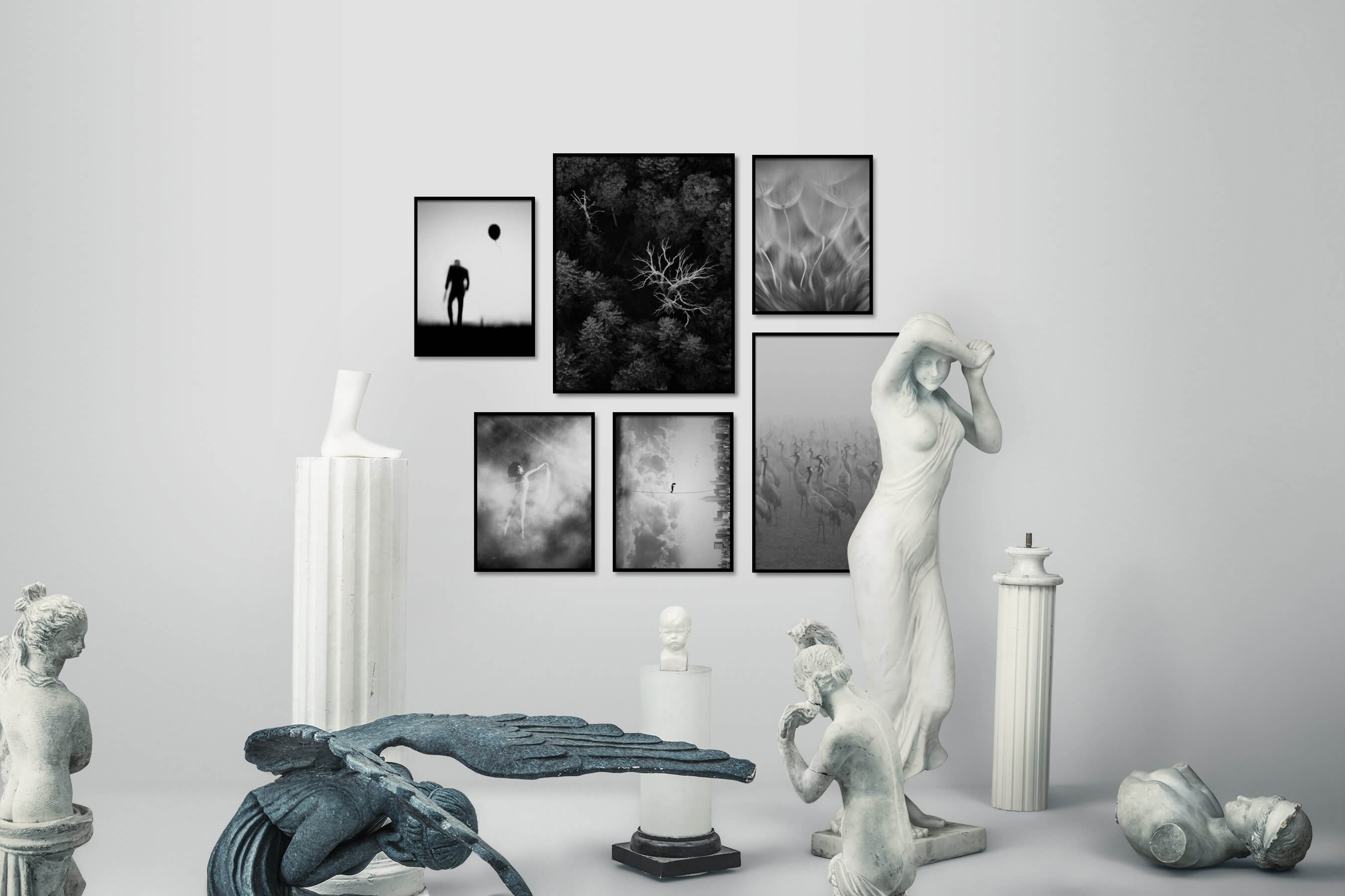 Gallery wall idea with six framed pictures arranged on a wall depicting Black & White, For the Minimalist, For the Moderate, Nature, Fashion & Beauty, Artsy, City Life, Flowers & Plants, Mindfulness, and Animals