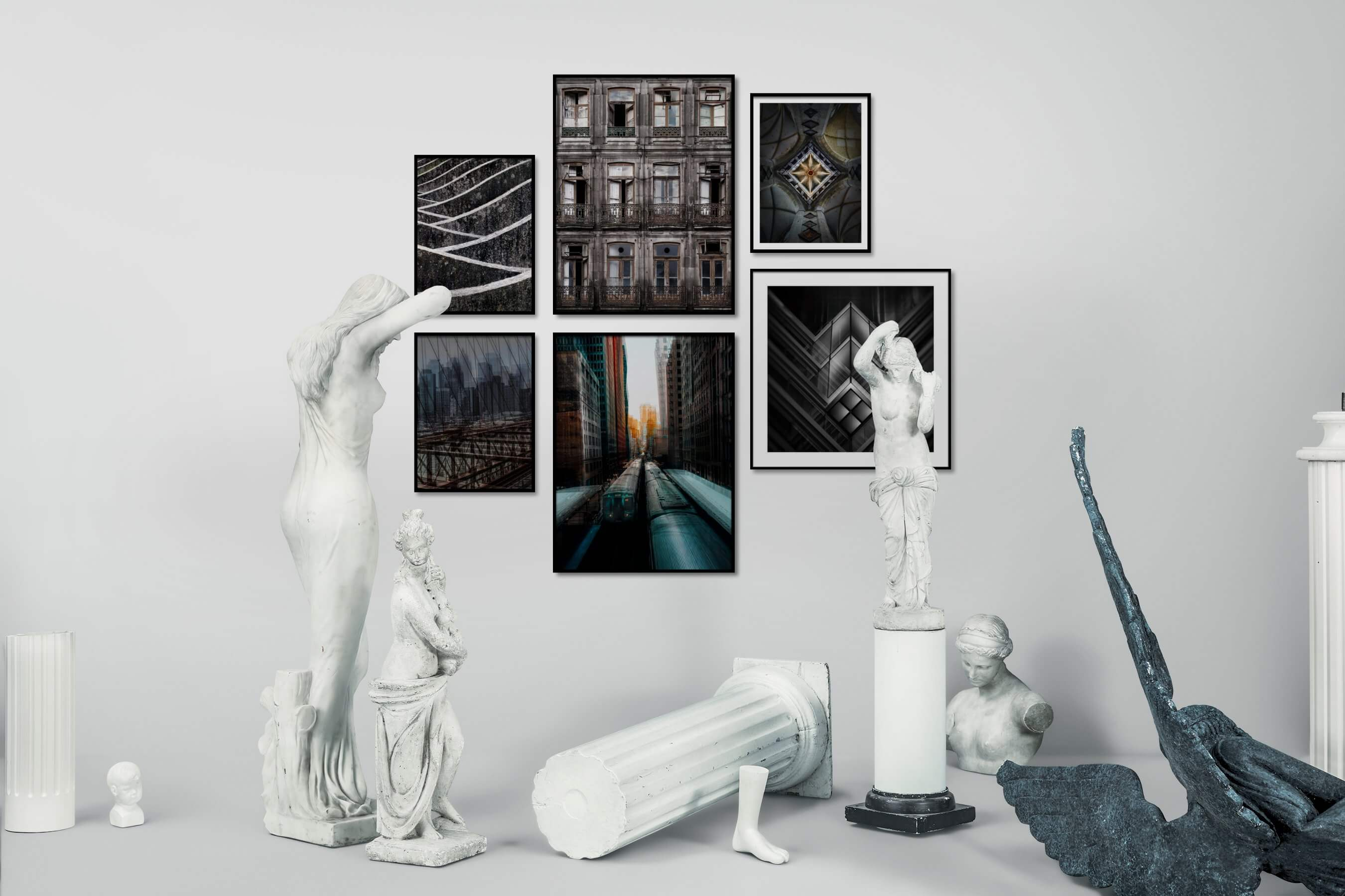 Gallery wall idea with six framed pictures arranged on a wall depicting Black & White, For the Moderate, City Life, Vintage, For the Maximalist, and Americana