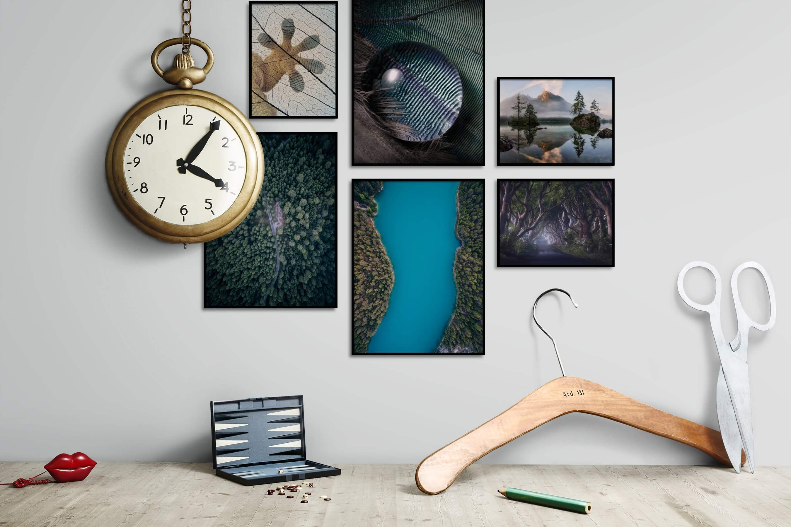 Gallery wall idea with six framed pictures arranged on a wall depicting For the Moderate, Animals, Nature, Beach & Water, and Mindfulness
