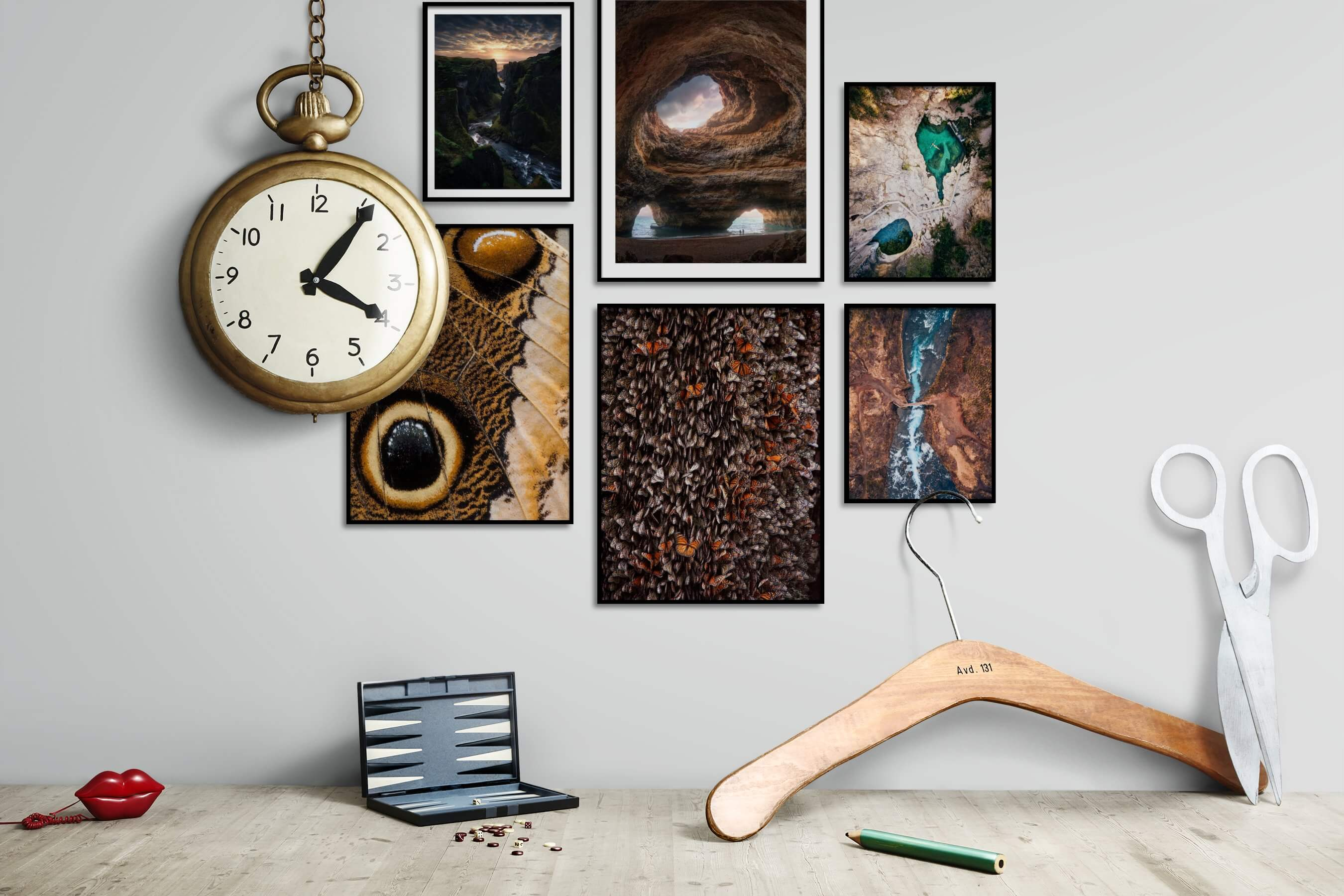 Gallery wall idea with six framed pictures arranged on a wall depicting Nature, Beach & Water, For the Maximalist, Animals, Mindfulness, and For the Moderate