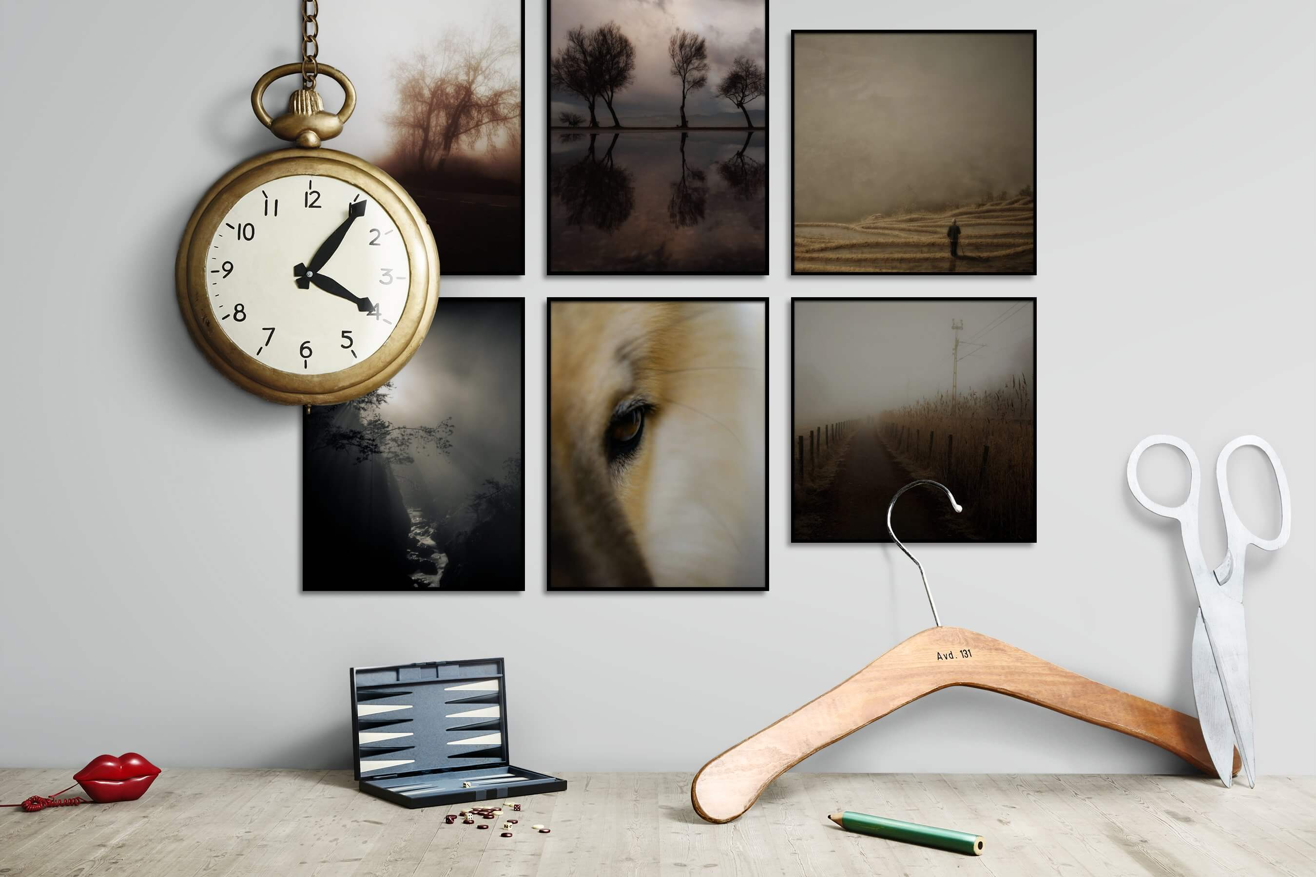 Gallery wall idea with six framed pictures arranged on a wall depicting Country Life, Nature, Black & White, and Animals