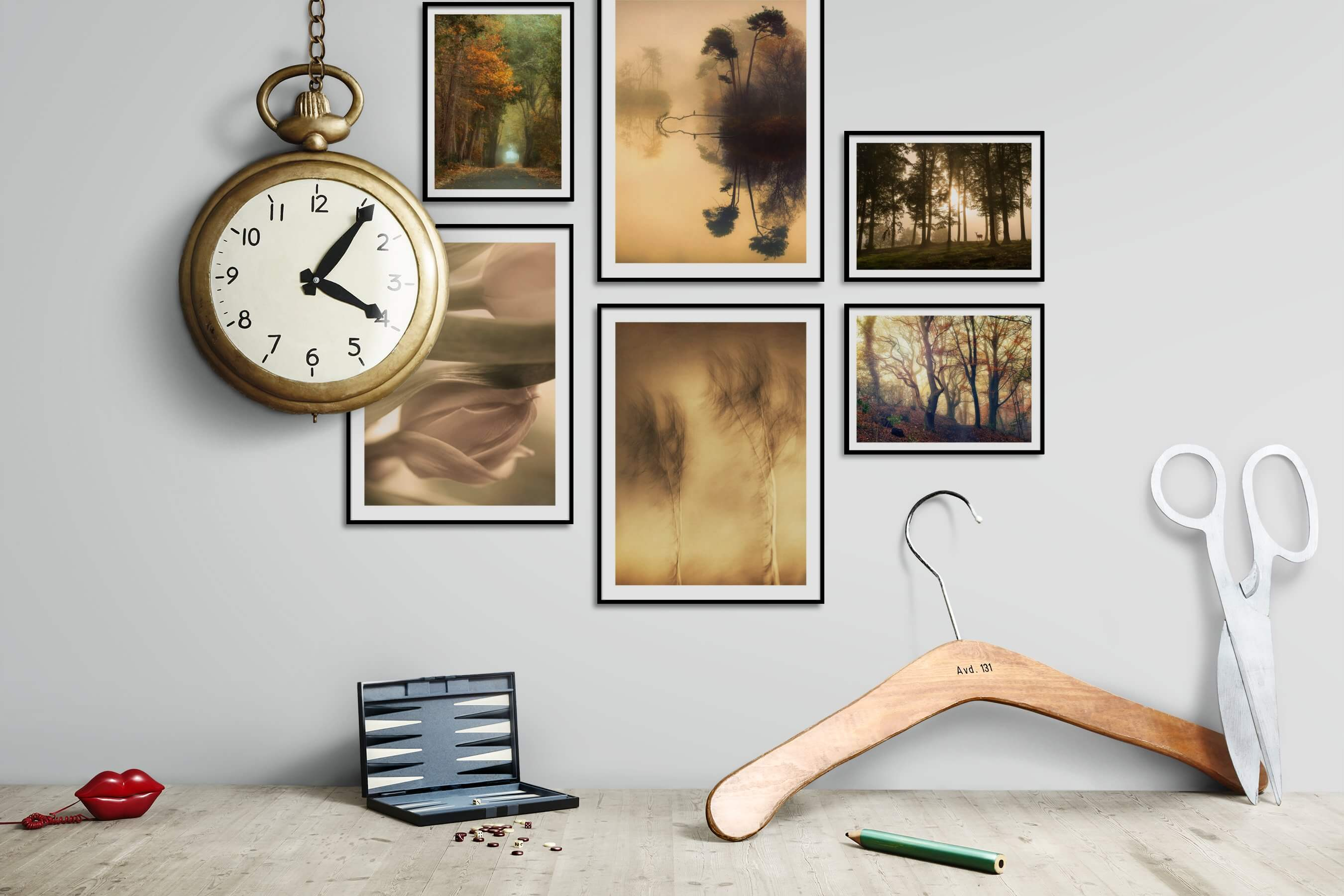 Gallery wall idea with six framed pictures arranged on a wall depicting Nature, For the Moderate, Flowers & Plants, and Animals