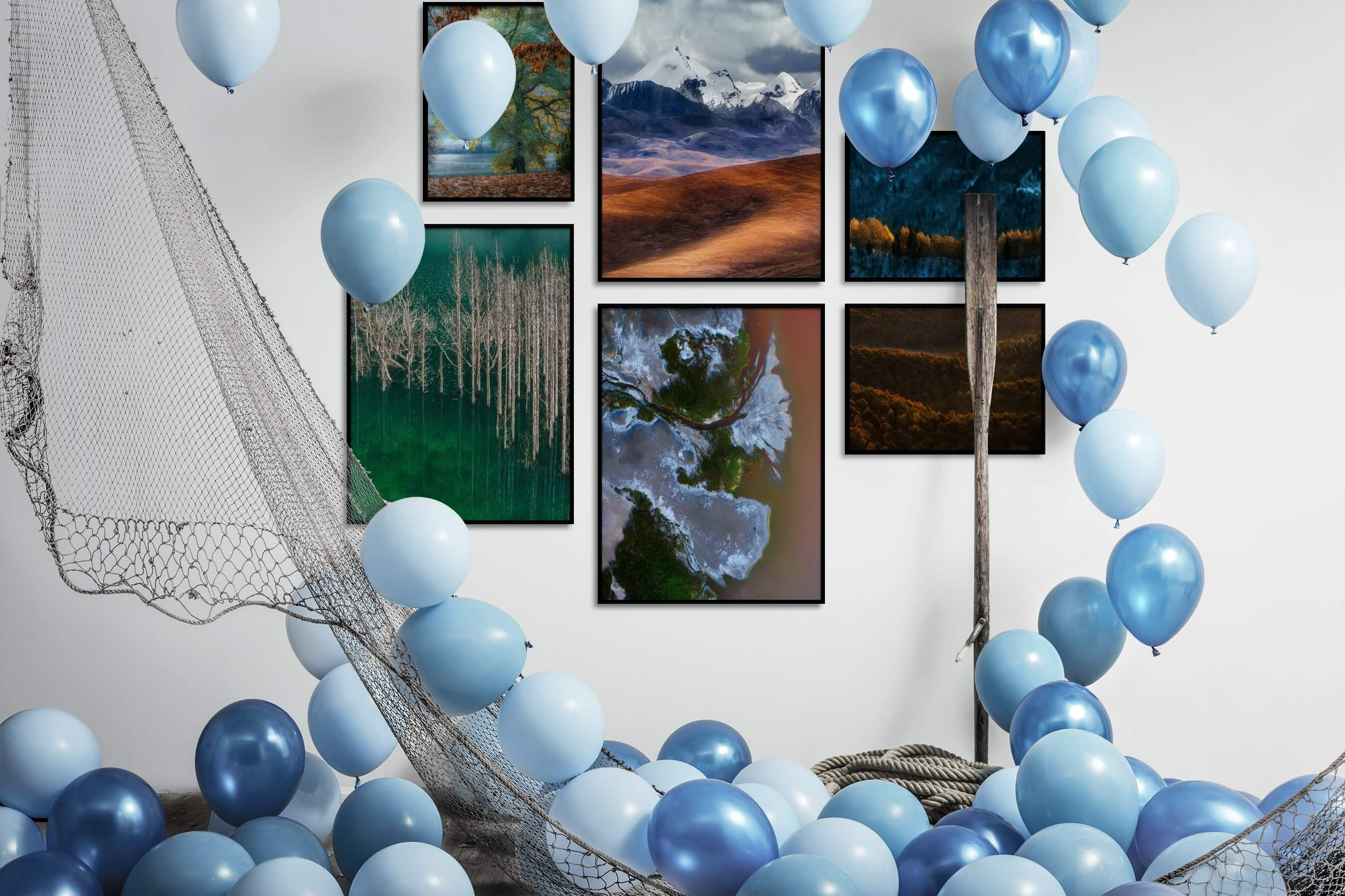 Gallery wall idea with six framed pictures arranged on a wall depicting Nature, For the Moderate, and Mindfulness