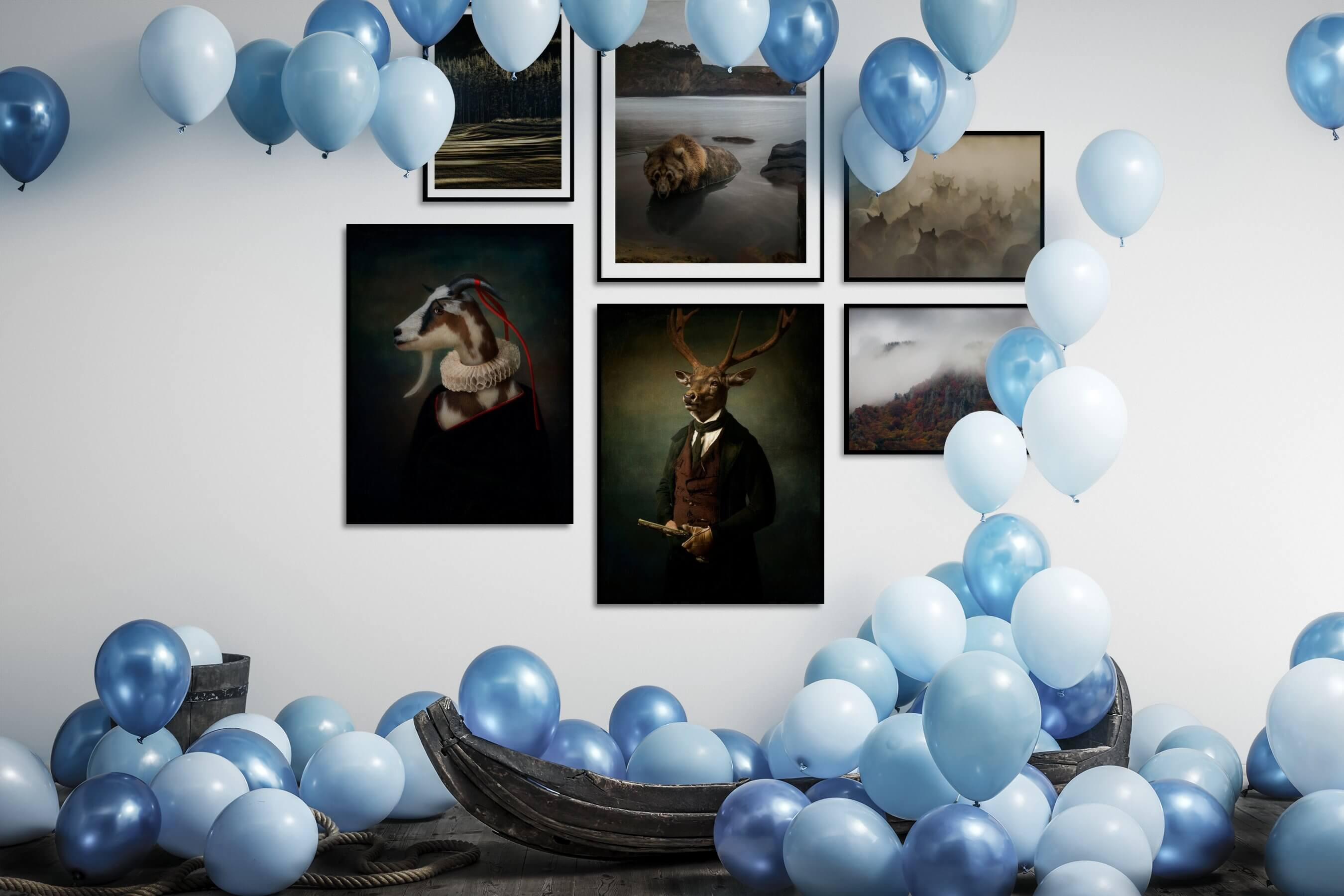 Gallery wall idea with six framed pictures arranged on a wall depicting For the Moderate, Nature, Animals, Artsy, Vintage, and Country Life