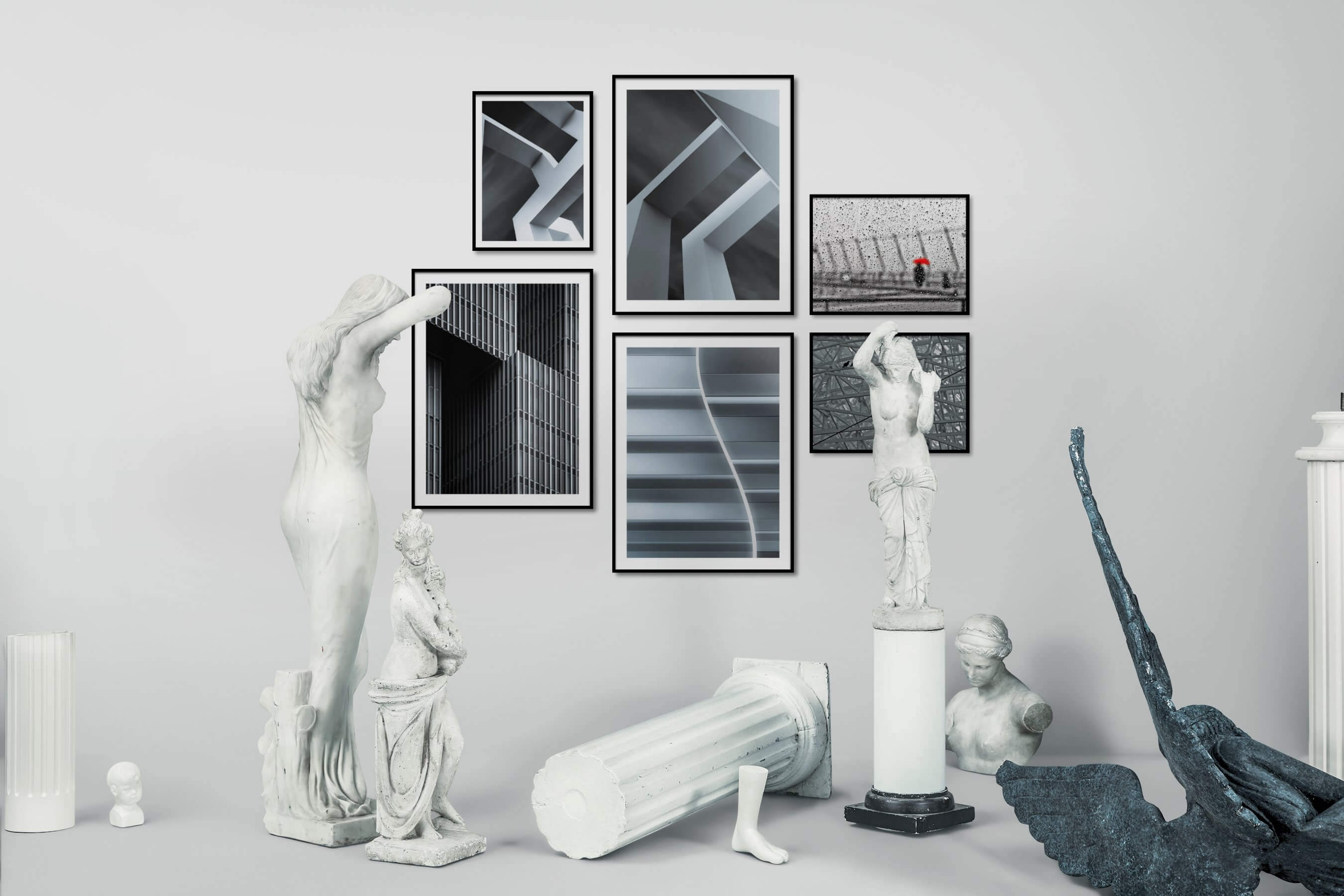 Gallery wall idea with six framed pictures arranged on a wall depicting Black & White, For the Minimalist, For the Maximalist, City Life, and For the Moderate