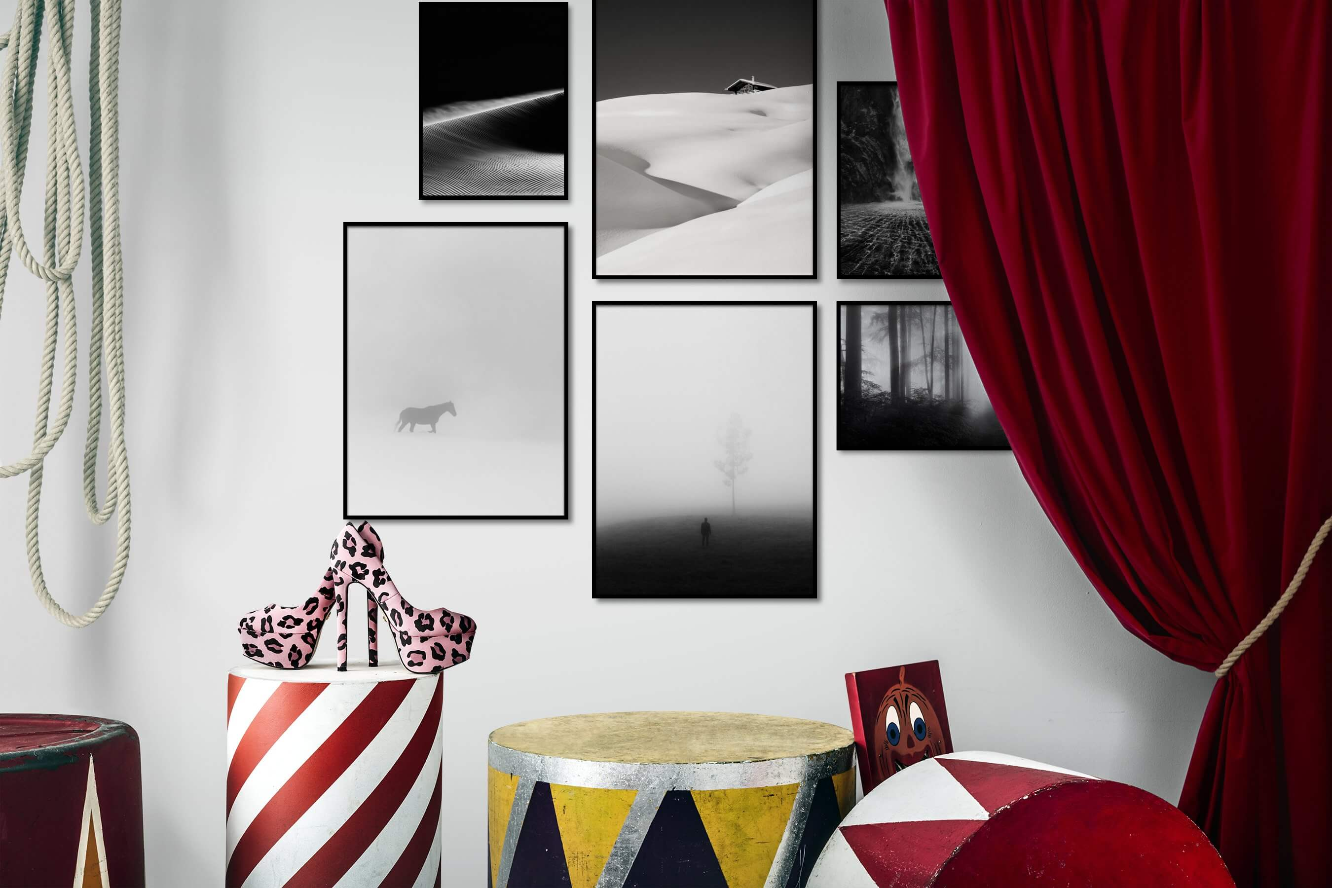 Gallery wall idea with six framed pictures arranged on a wall depicting Black & White, Dark Tones, For the Minimalist, Nature, Country Life, Animals, Bright Tones, and Mindfulness