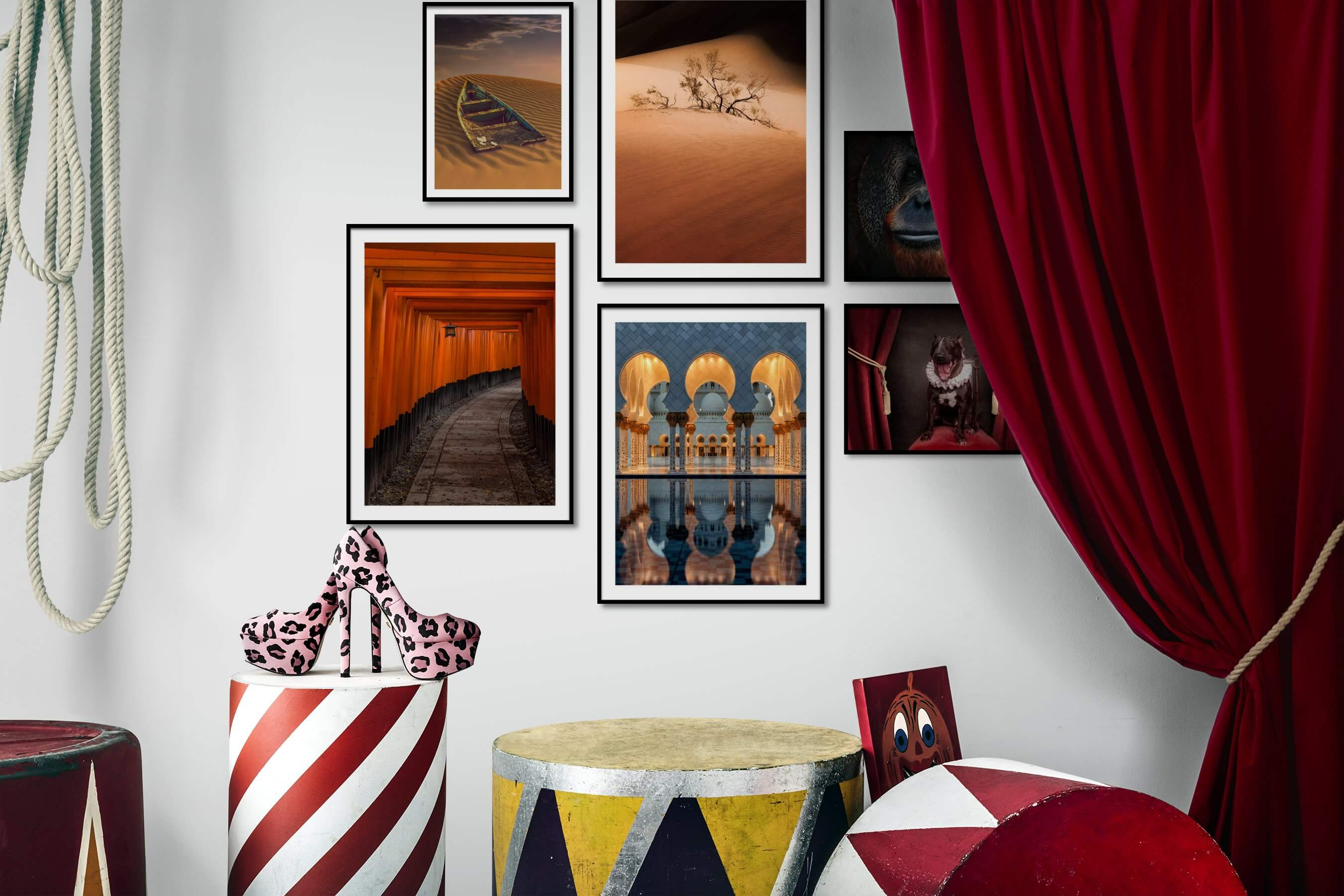 Gallery wall idea with six framed pictures arranged on a wall depicting Nature, For the Moderate, Animals, and Vintage