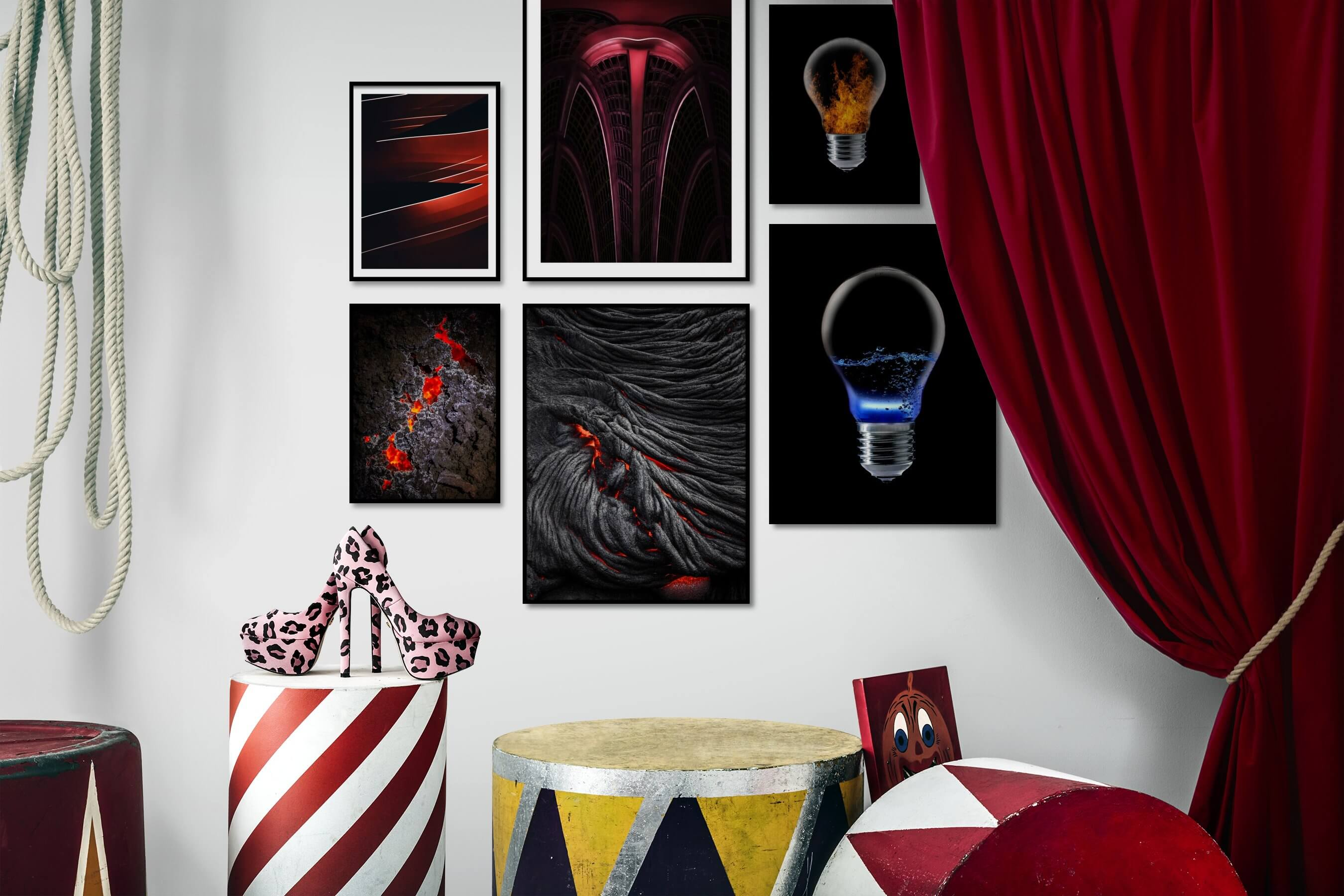 Gallery wall idea with six framed pictures arranged on a wall depicting For the Moderate, Nature, Dark Tones, and For the Minimalist
