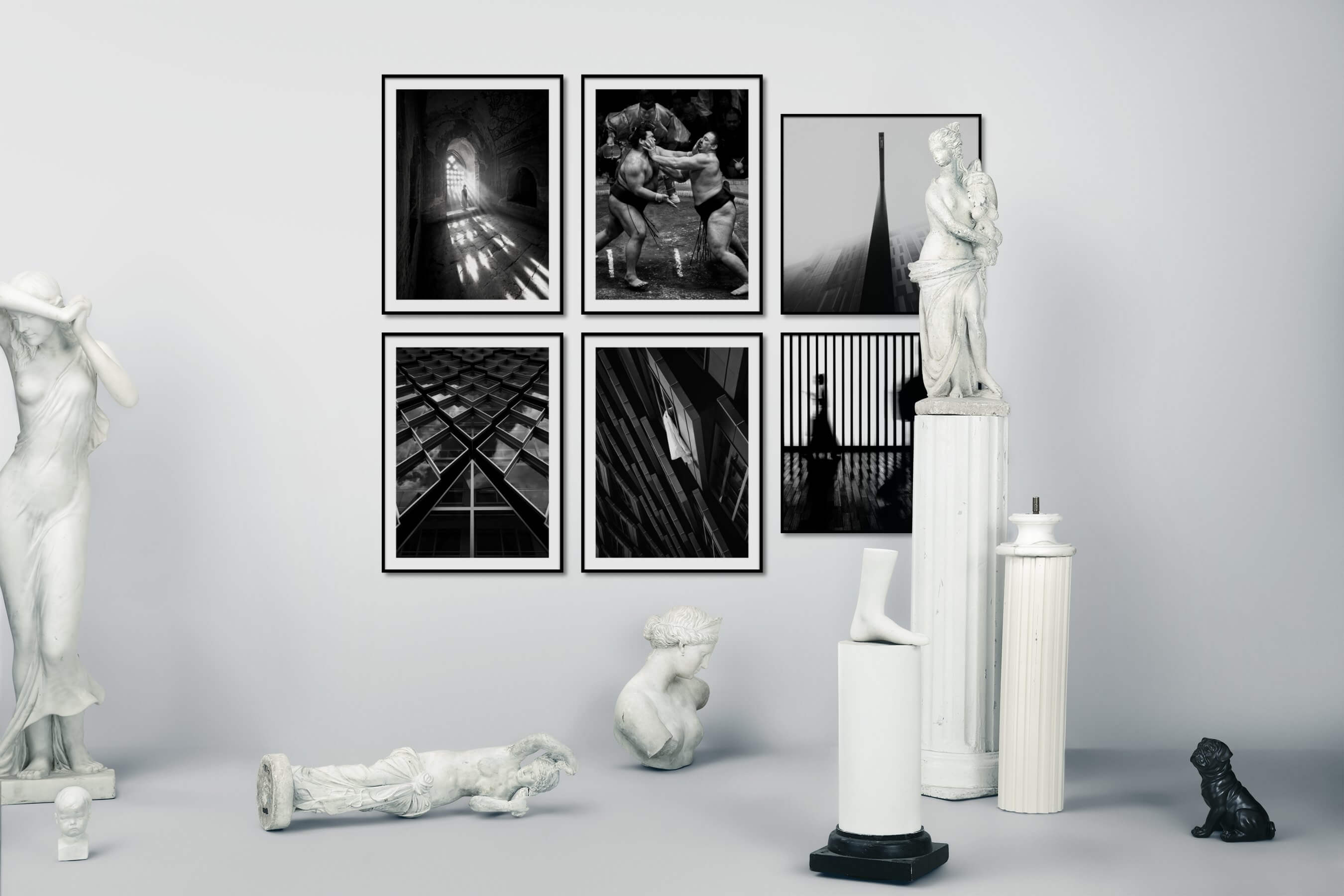 Gallery wall idea with six framed pictures arranged on a wall depicting Black & White, Mindfulness, For the Maximalist, For the Moderate, For the Minimalist, and City Life