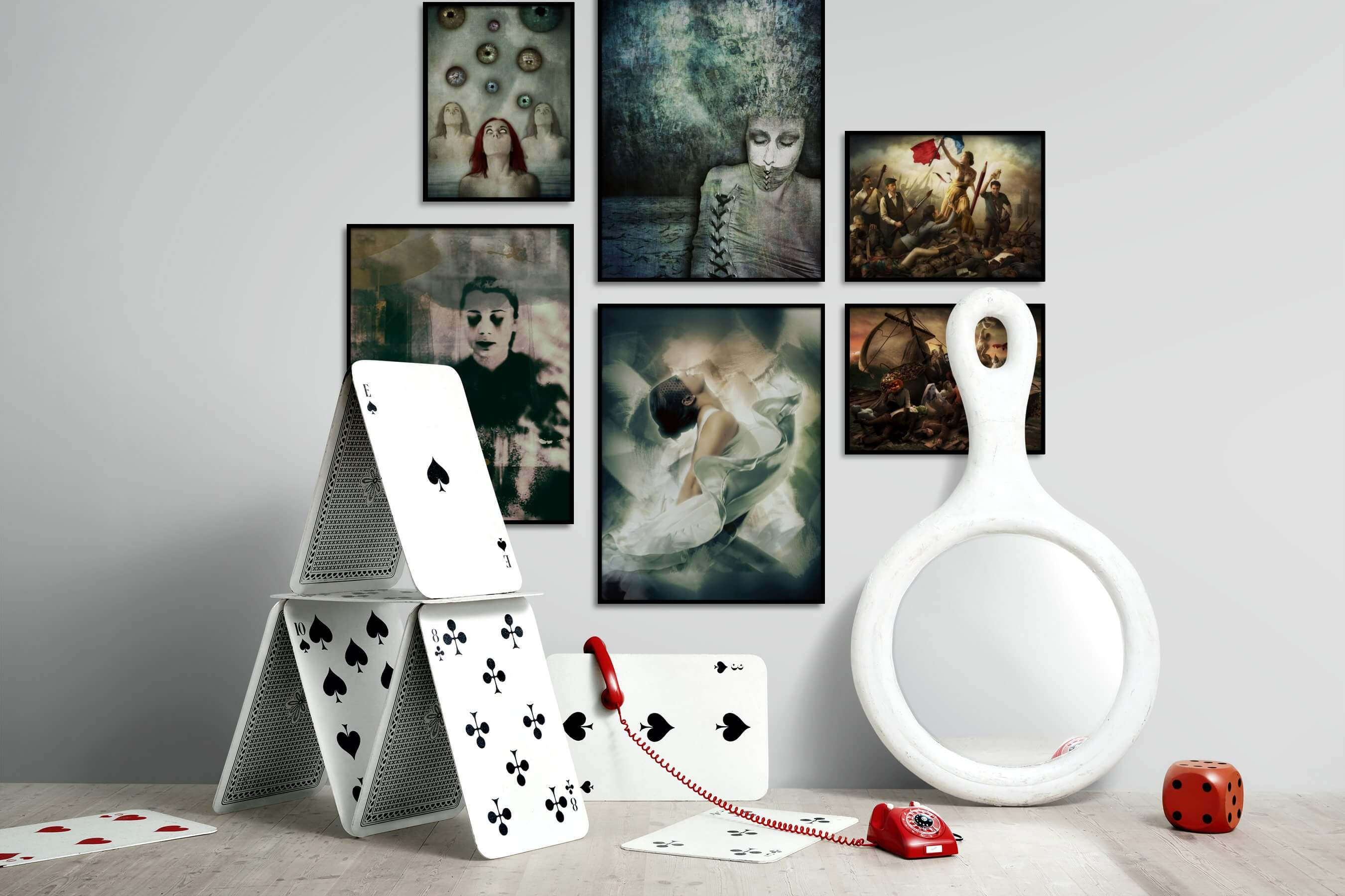 Gallery wall idea with six framed pictures arranged on a wall depicting Artsy, For the Maximalist, Fashion & Beauty, and Vintage