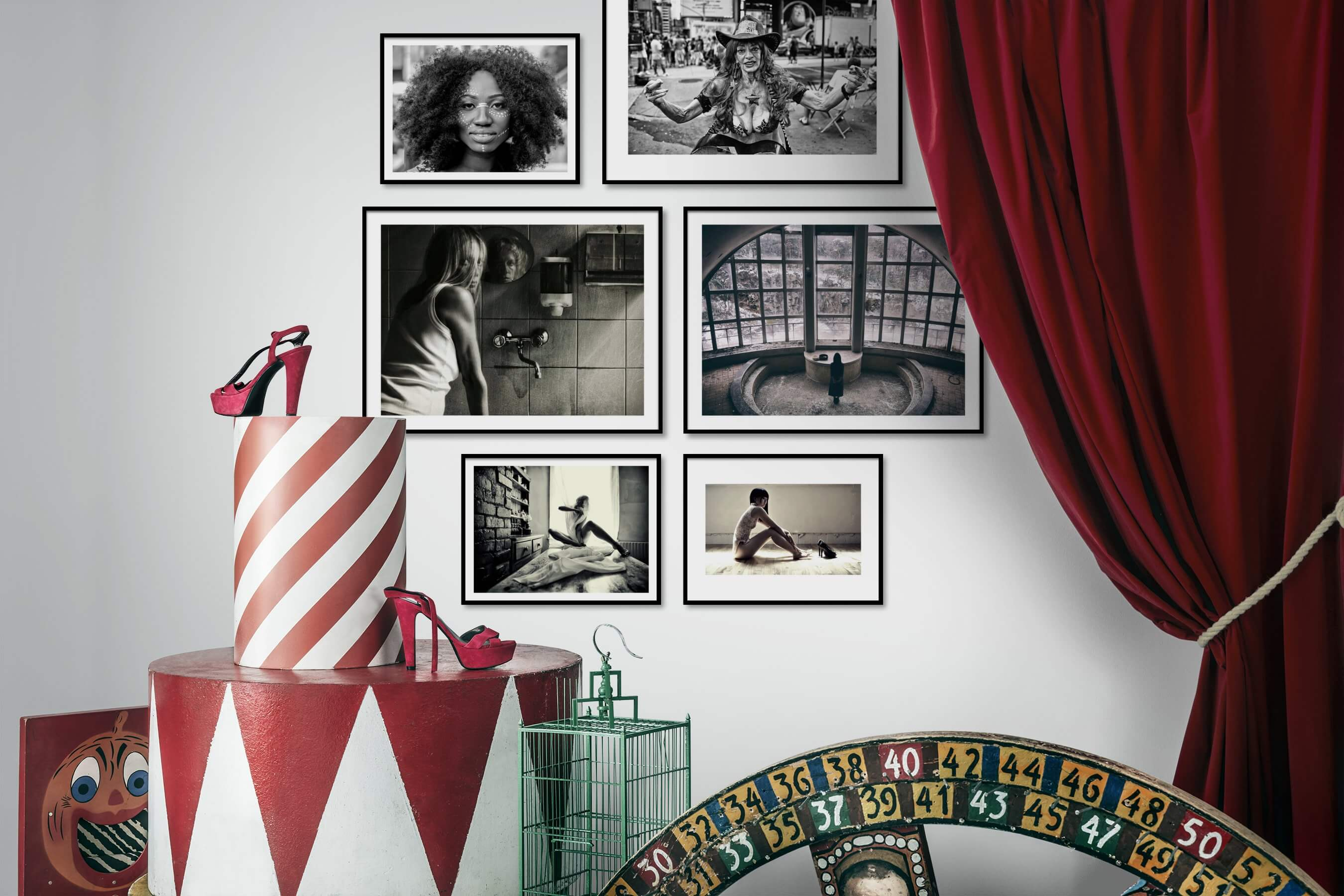 Gallery wall idea with six framed pictures arranged on a wall depicting Fashion & Beauty, Black & White, City Life, Americana, Artsy, and Vintage