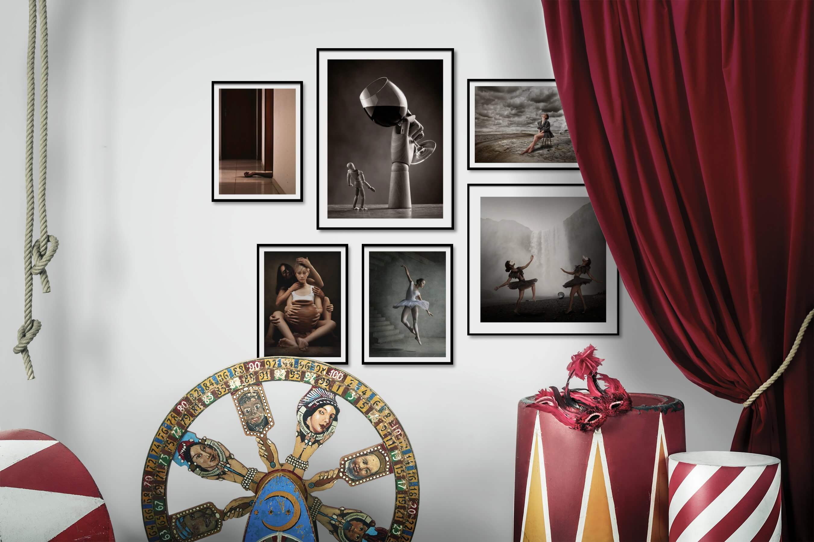 Gallery wall idea with six framed pictures arranged on a wall depicting Artsy, For the Moderate, Fashion & Beauty, and Nature