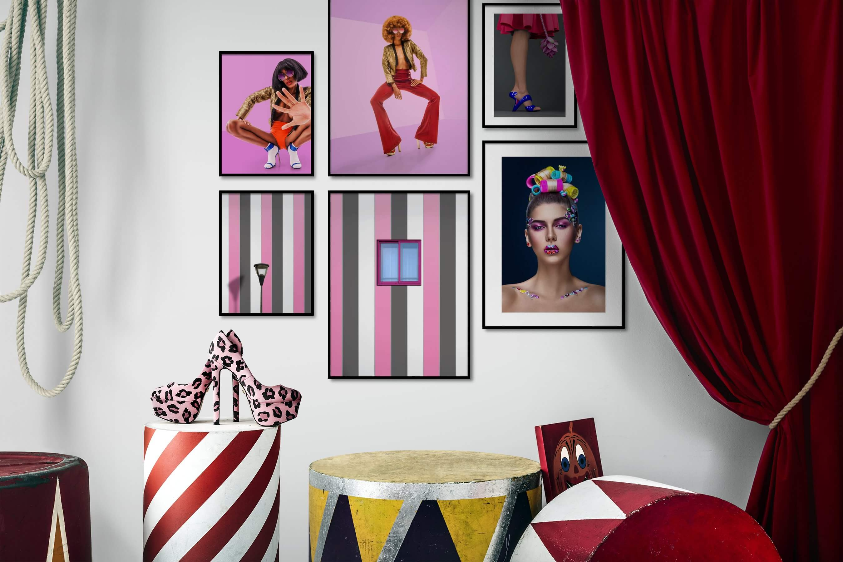 Gallery wall idea with six framed pictures arranged on a wall depicting Fashion & Beauty, Colorful, Vintage, and For the Moderate