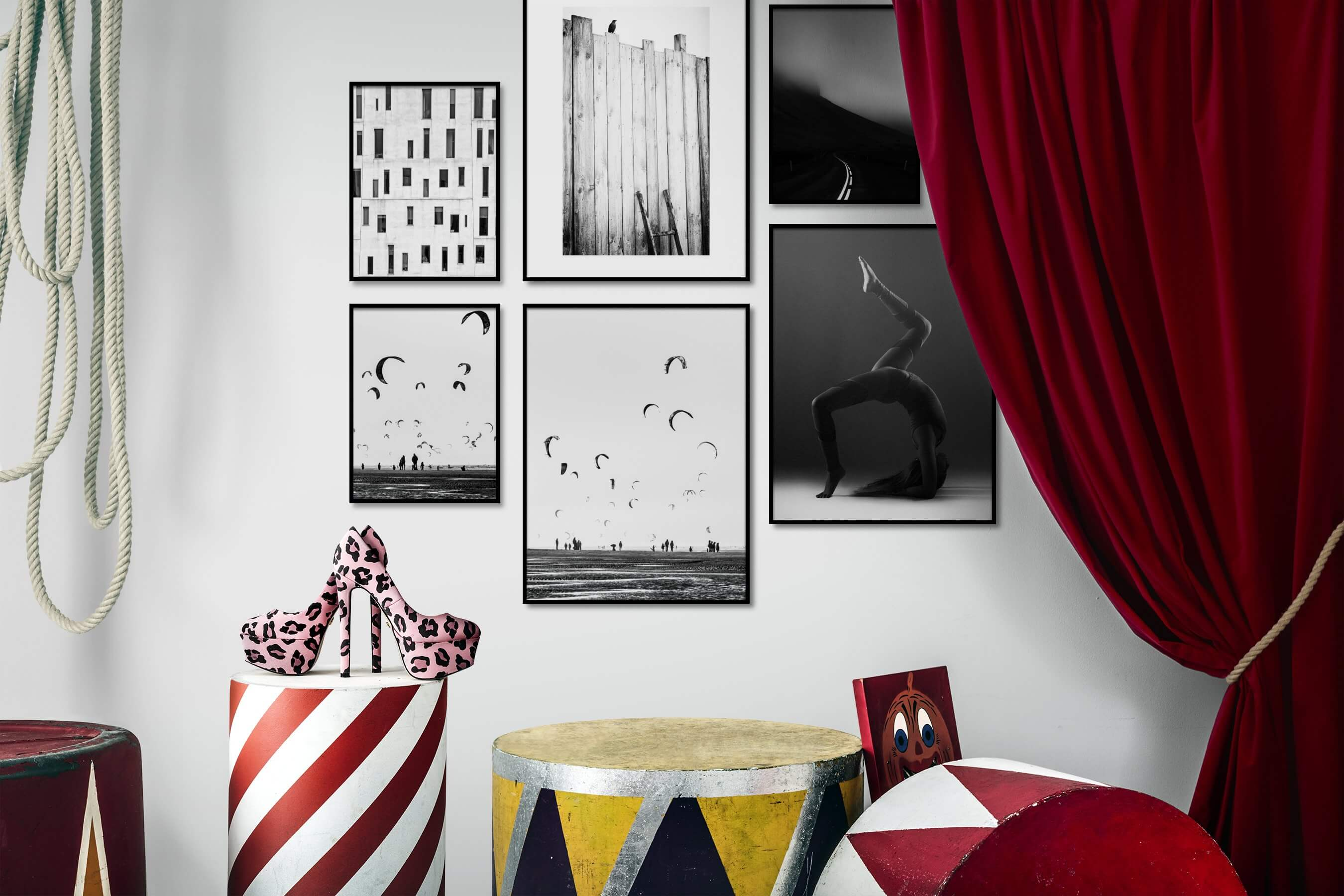 Gallery wall idea with six framed pictures arranged on a wall depicting For the Moderate, City Life, Black & White, For the Minimalist, Beach & Water, Country Life, and Fashion & Beauty