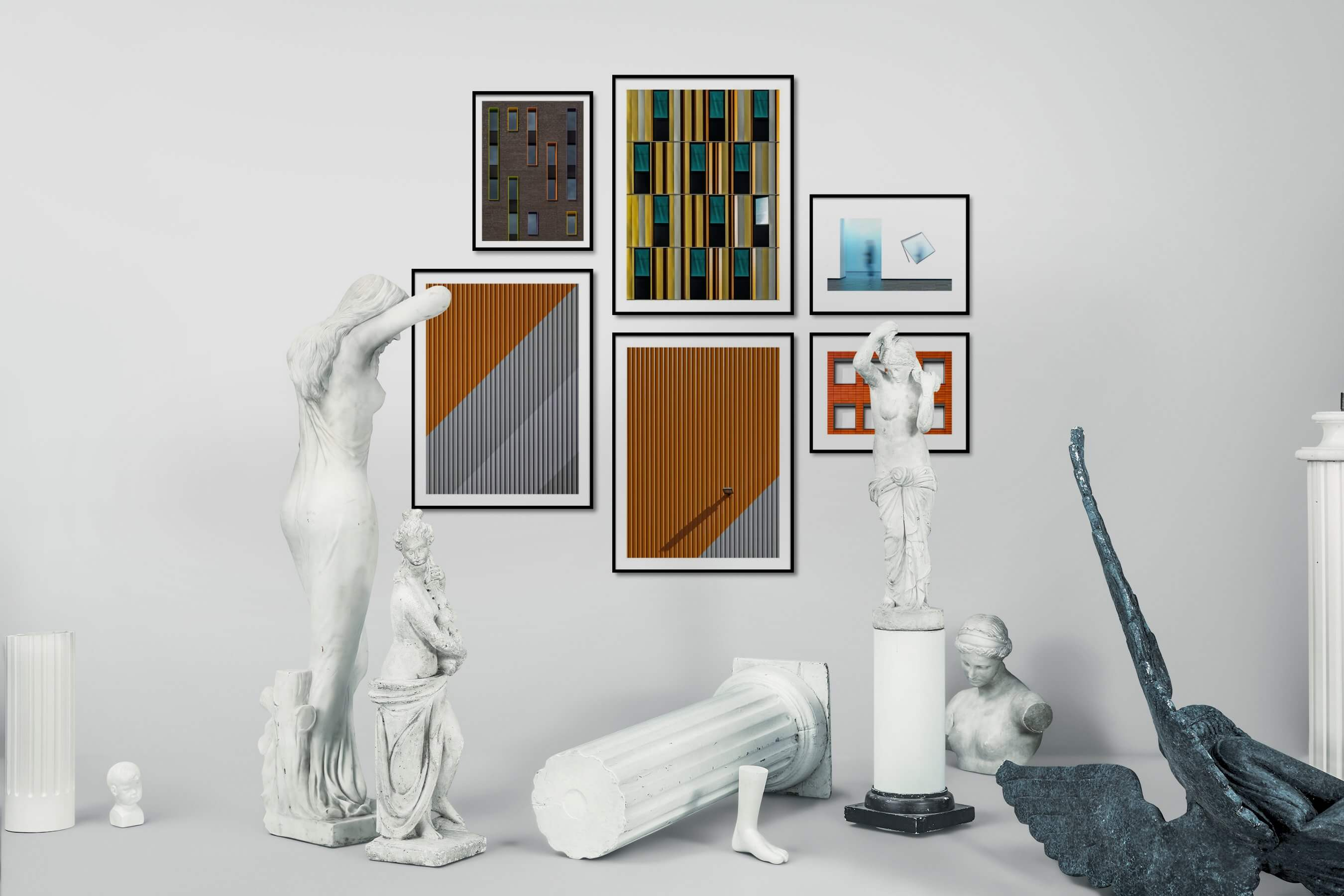 Gallery wall idea with six framed pictures arranged on a wall depicting For the Moderate, For the Maximalist, City Life, Artsy, and For the Minimalist