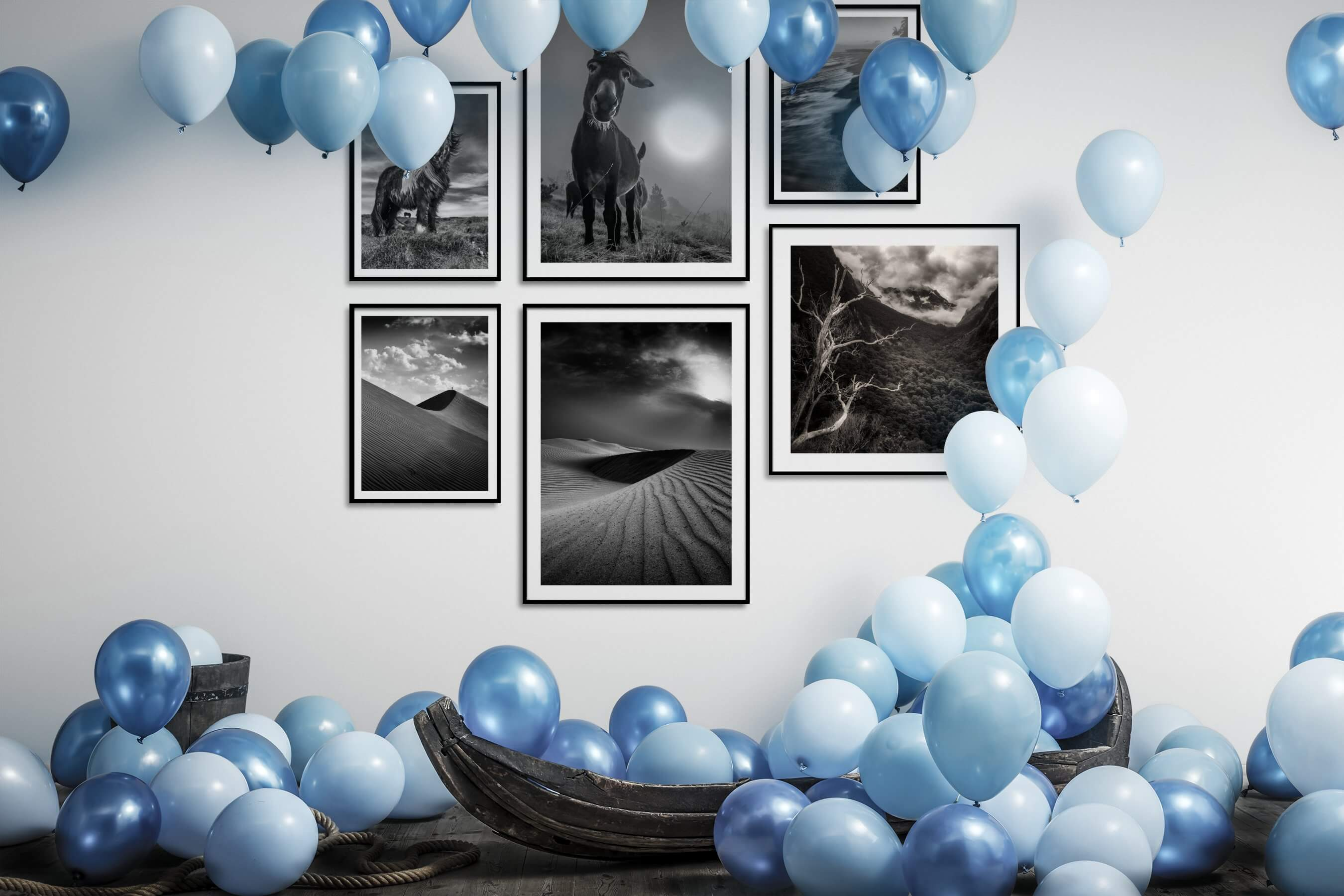 Gallery wall idea with six framed pictures arranged on a wall depicting Black & White, Animals, Country Life, For the Minimalist, Nature, For the Moderate, and Beach & Water