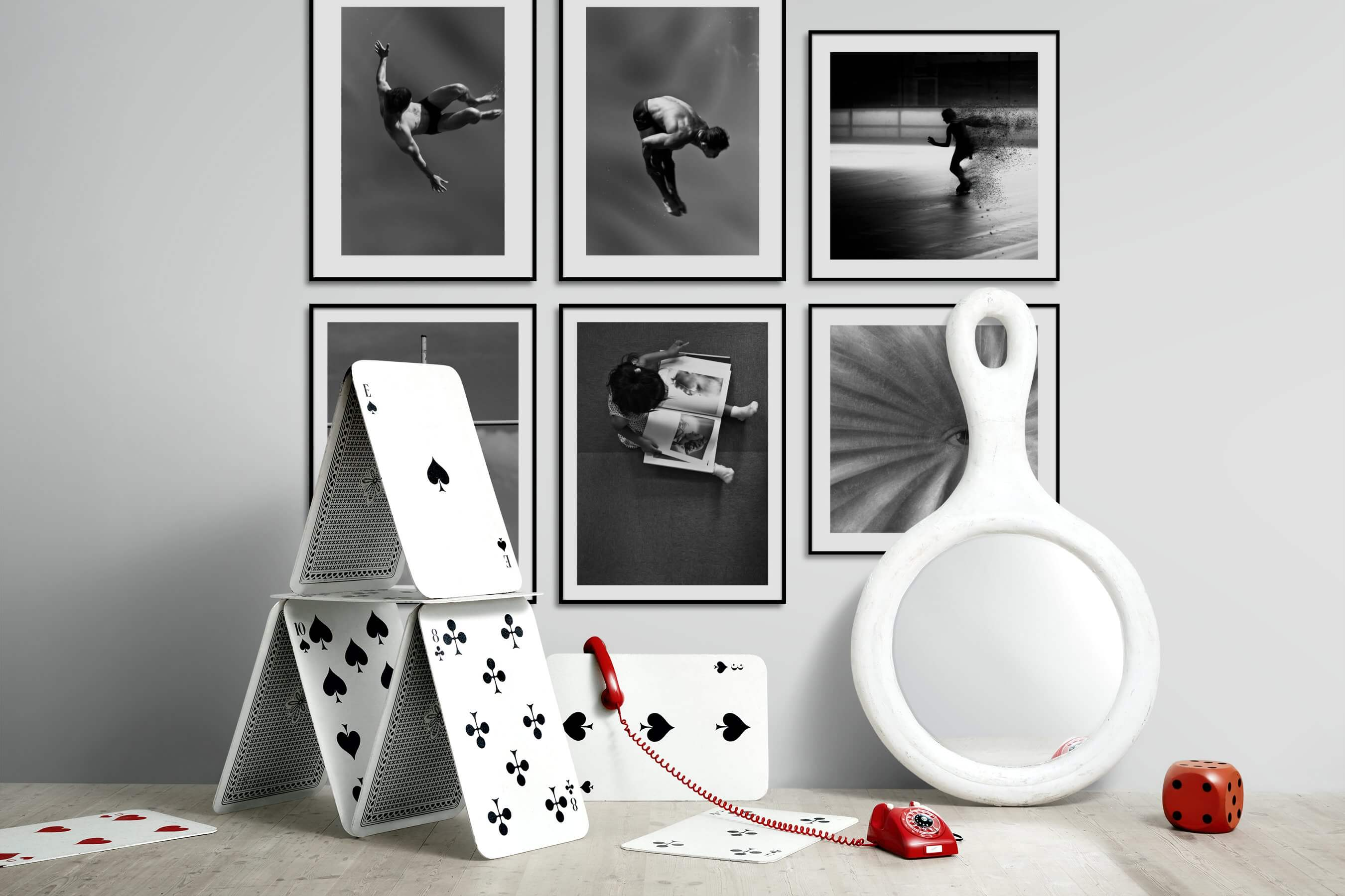 Gallery wall idea with six framed pictures arranged on a wall depicting Fashion & Beauty, Black & White, Artsy, and For the Moderate