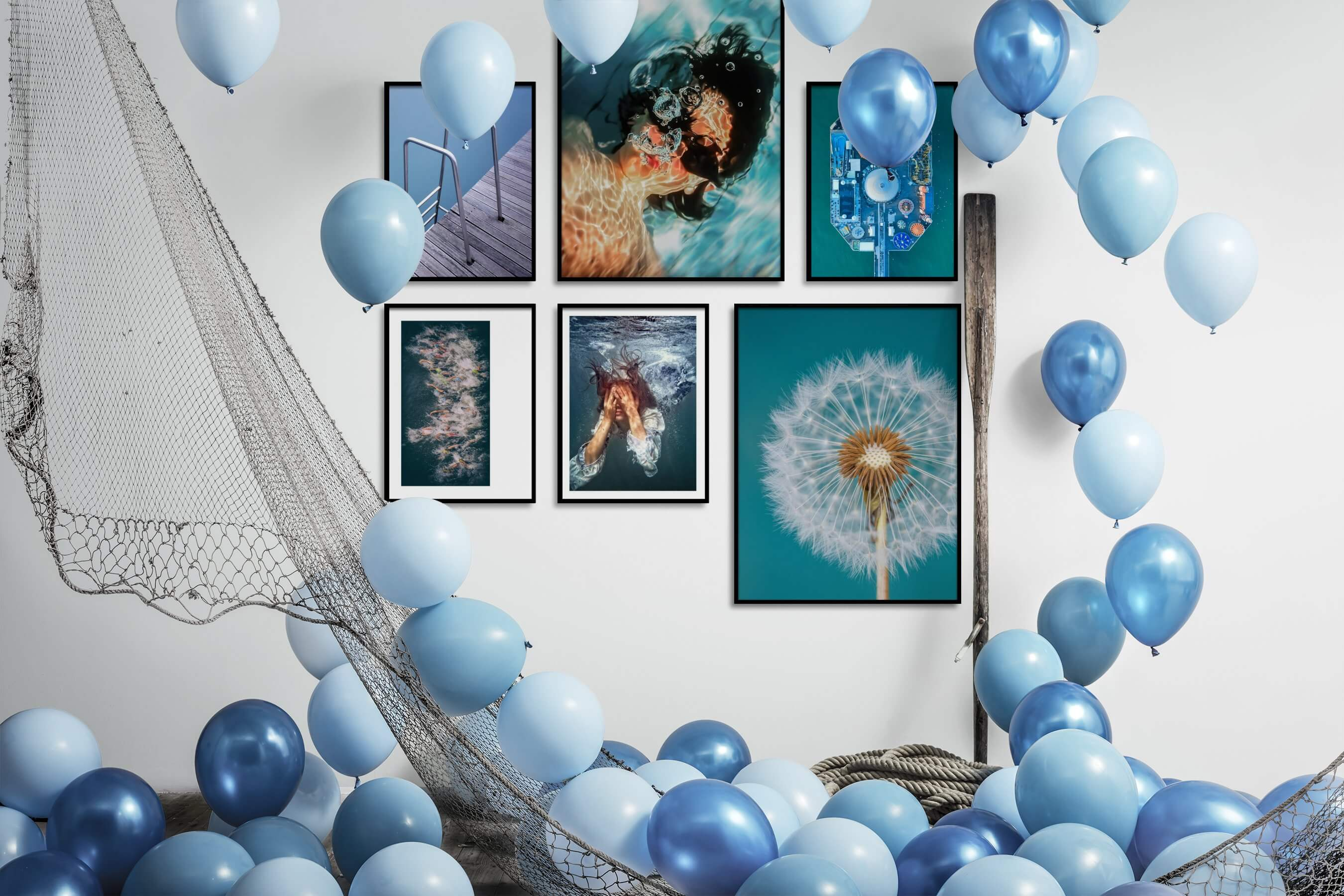 Gallery wall idea with six framed pictures arranged on a wall depicting For the Moderate, Beach & Water, Fashion & Beauty, For the Minimalist, Flowers & Plants, and Mindfulness