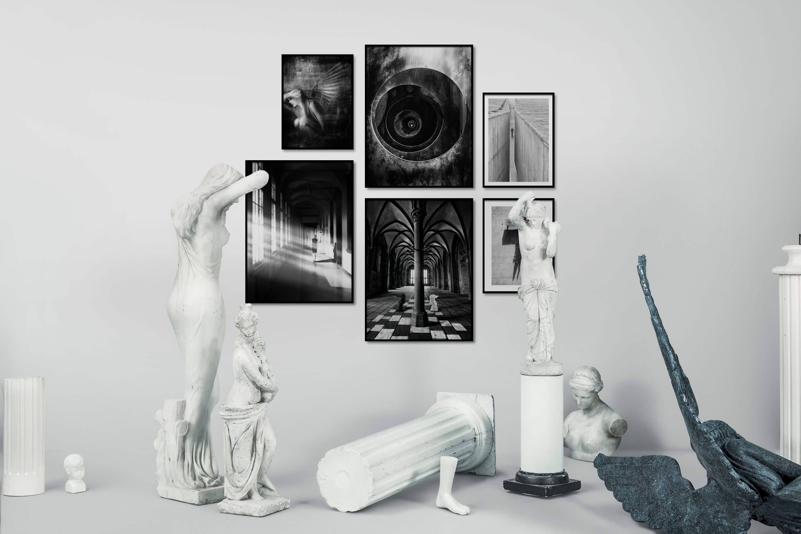 Gallery wall idea with six framed pictures arranged on a wall depicting Fashion & Beauty, Artsy, Black & White, For the Maximalist, For the Moderate, For the Minimalist, and City Life