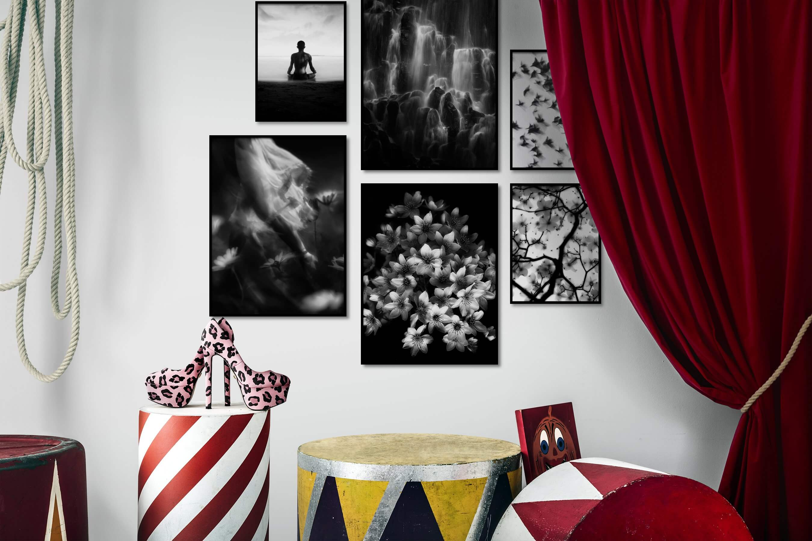 Gallery wall idea with six framed pictures arranged on a wall depicting Black & White, Beach & Water, Mindfulness, For the Moderate, Nature, Fashion & Beauty, Flowers & Plants, Dark Tones, and Animals