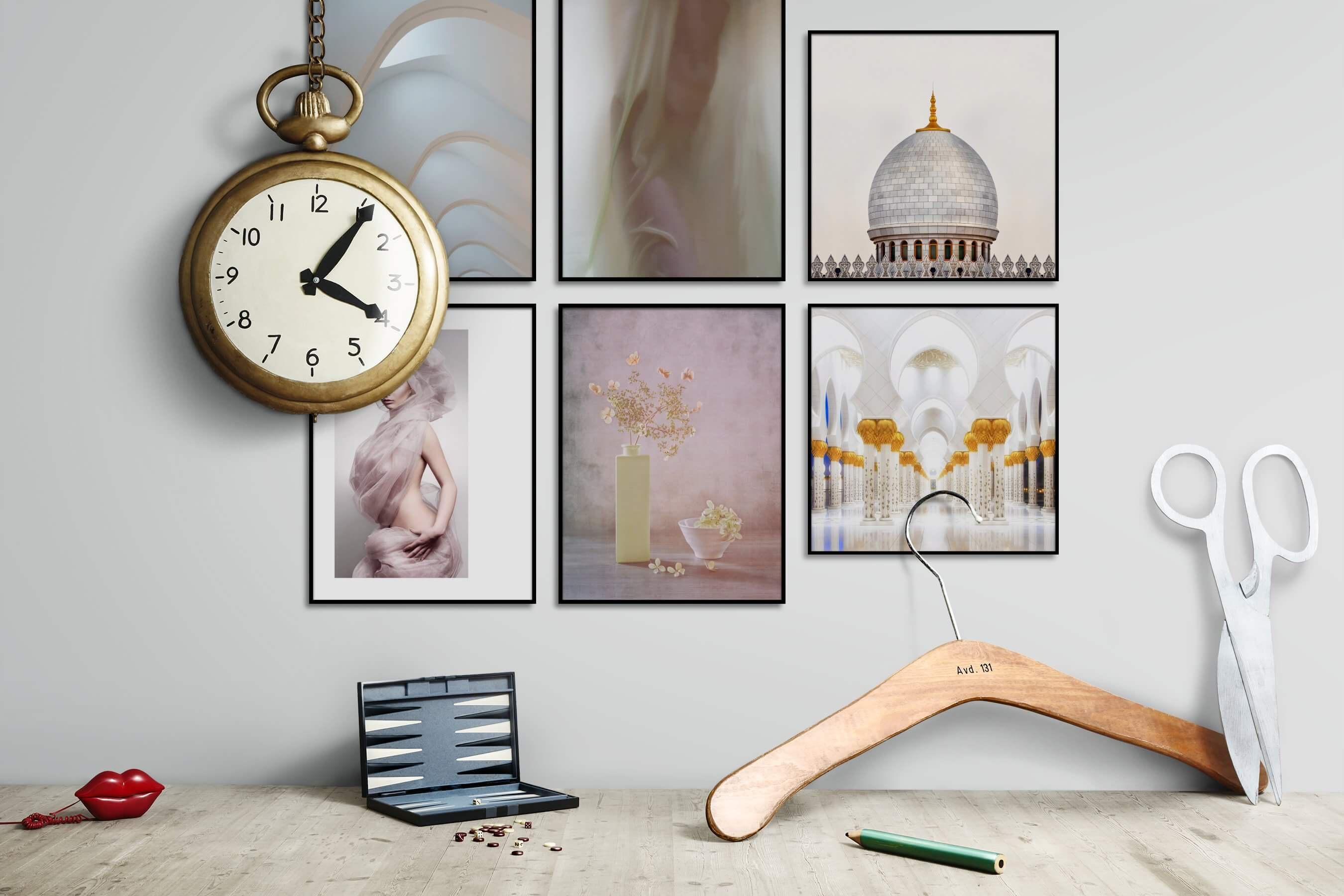 Gallery wall idea with six framed pictures arranged on a wall depicting For the Moderate, Fashion & Beauty, Flowers & Plants, Vintage, and For the Maximalist
