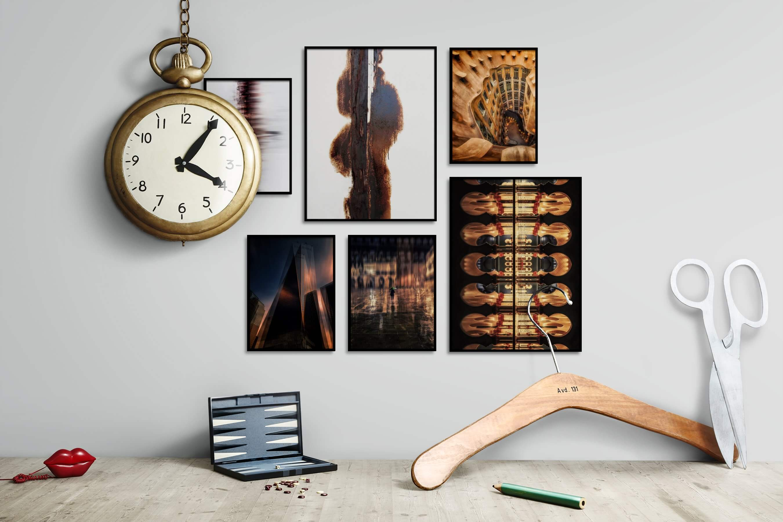 Gallery wall idea with six framed pictures arranged on a wall depicting For the Moderate, City Life, Americana, For the Minimalist, and For the Maximalist