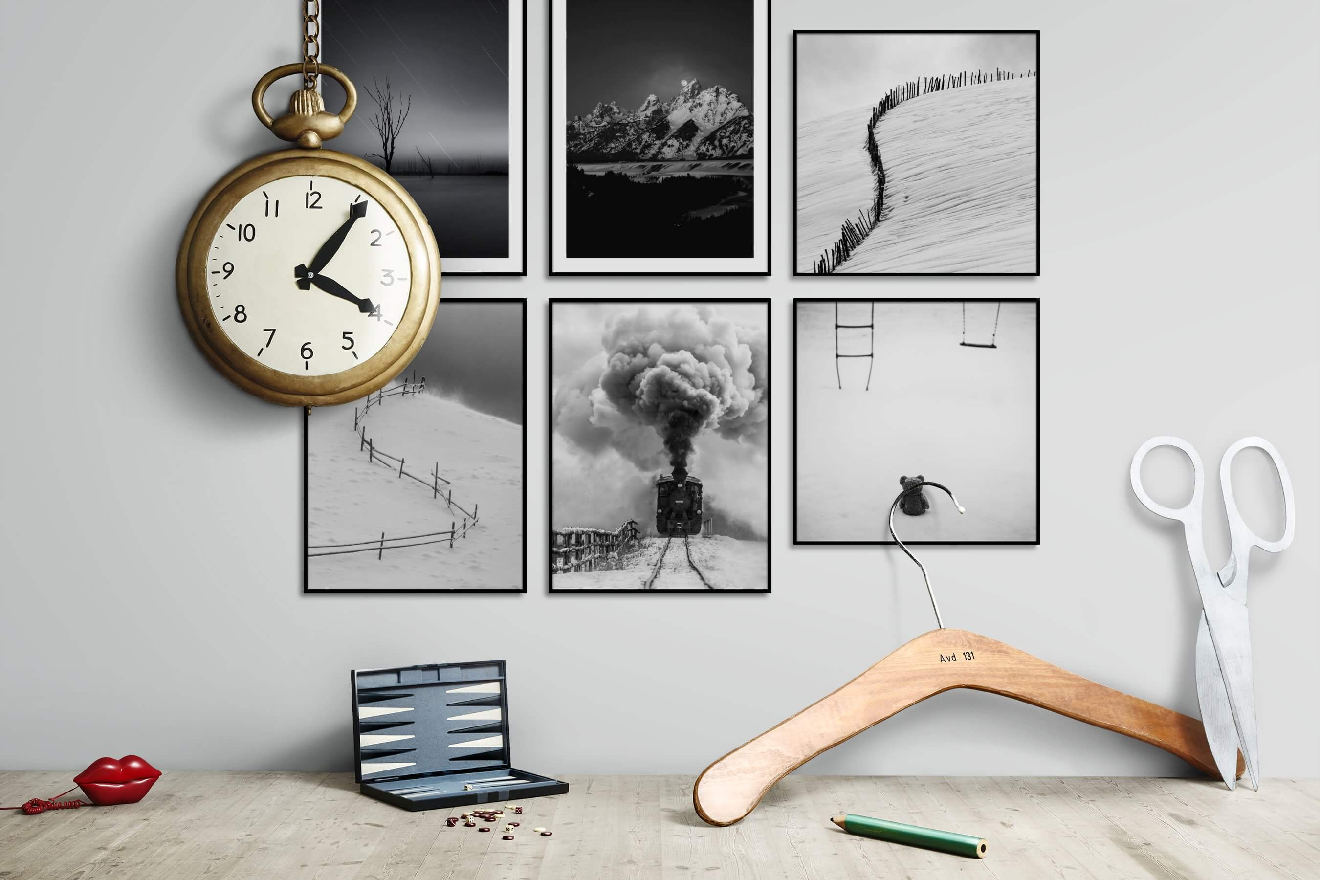 Gallery wall idea with six framed pictures arranged on a wall depicting Black & White, For the Minimalist, Nature, Country Life, Vintage, and Artsy