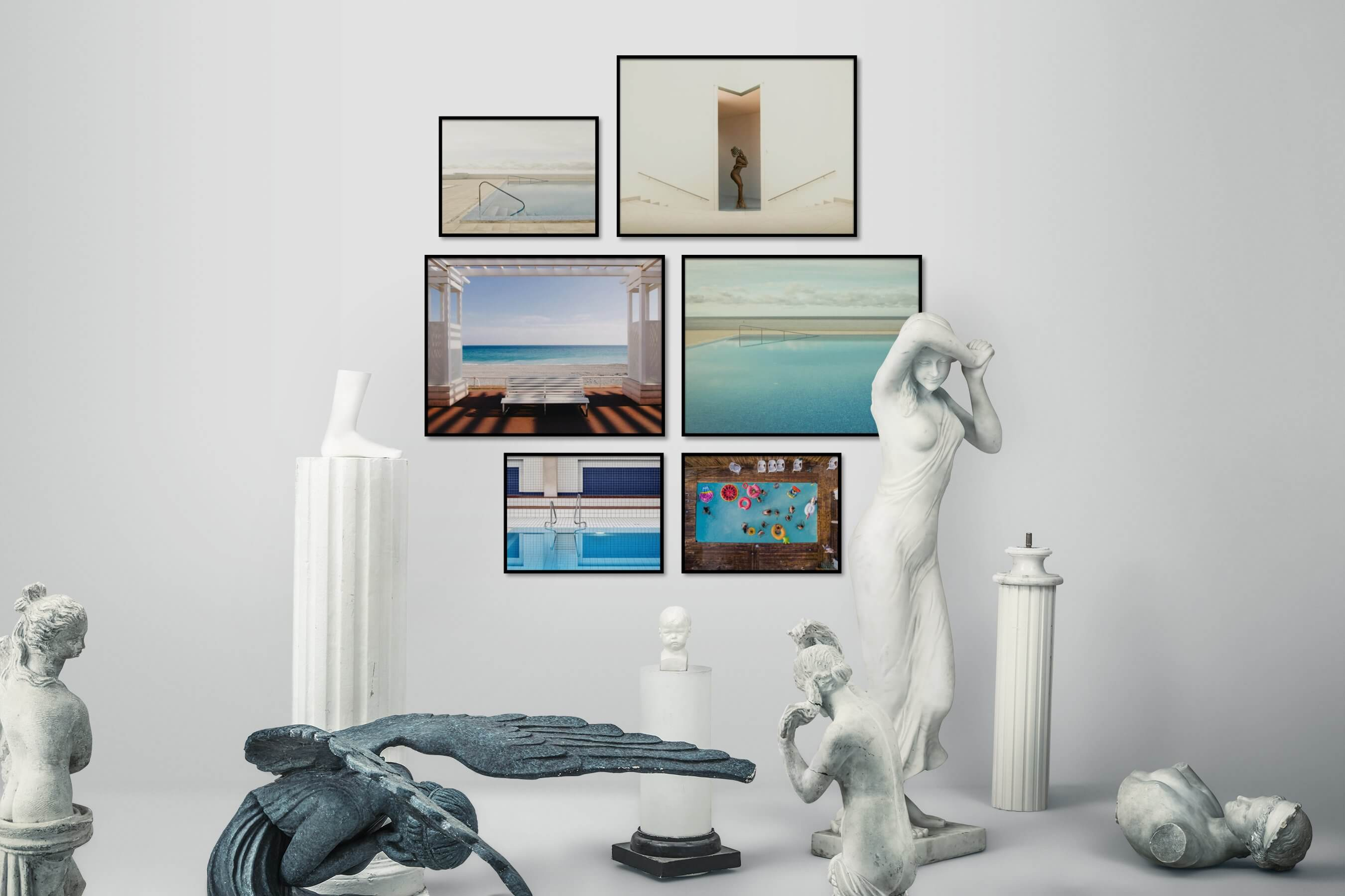 Gallery wall idea with six framed pictures arranged on a wall depicting For the Minimalist, Beach & Water, Vintage, Artsy, For the Moderate, and Colorful
