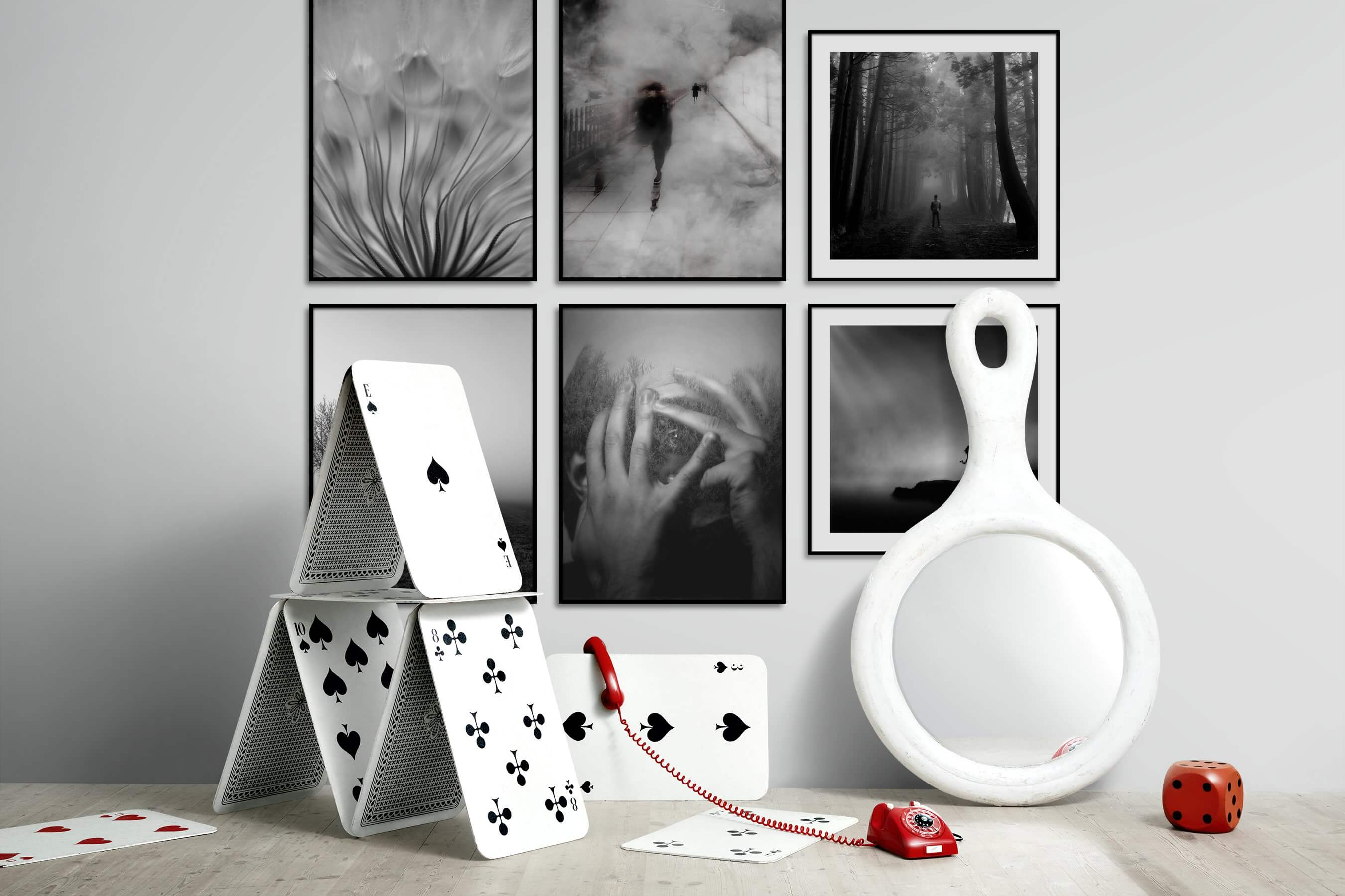 Gallery wall idea with six framed pictures arranged on a wall depicting Black & White, Flowers & Plants, Artsy, For the Moderate, For the Minimalist, Country Life, Nature, and Mindfulness