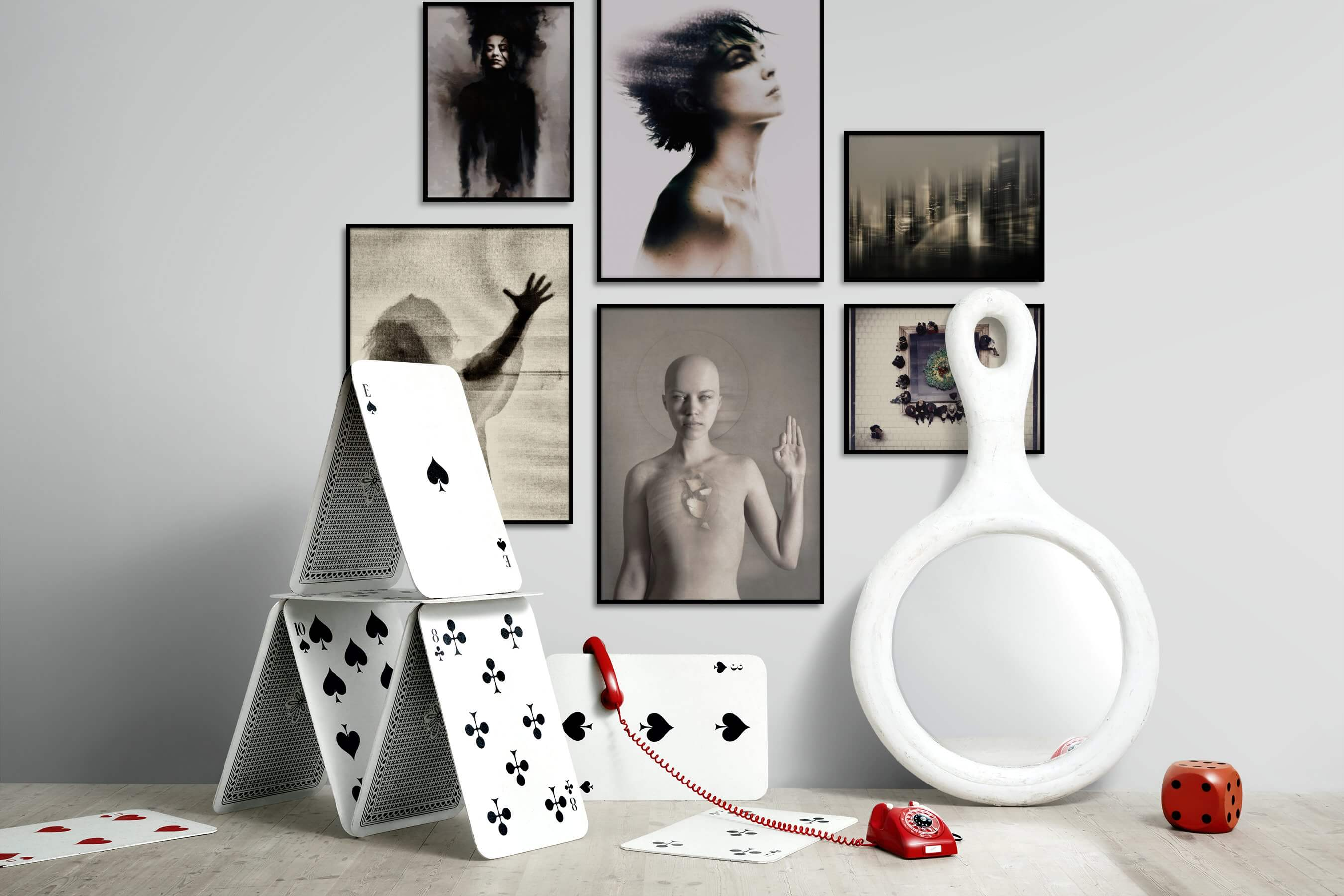 Gallery wall idea with six framed pictures arranged on a wall depicting Fashion & Beauty, Artsy, For the Maximalist, City Life, and For the Moderate