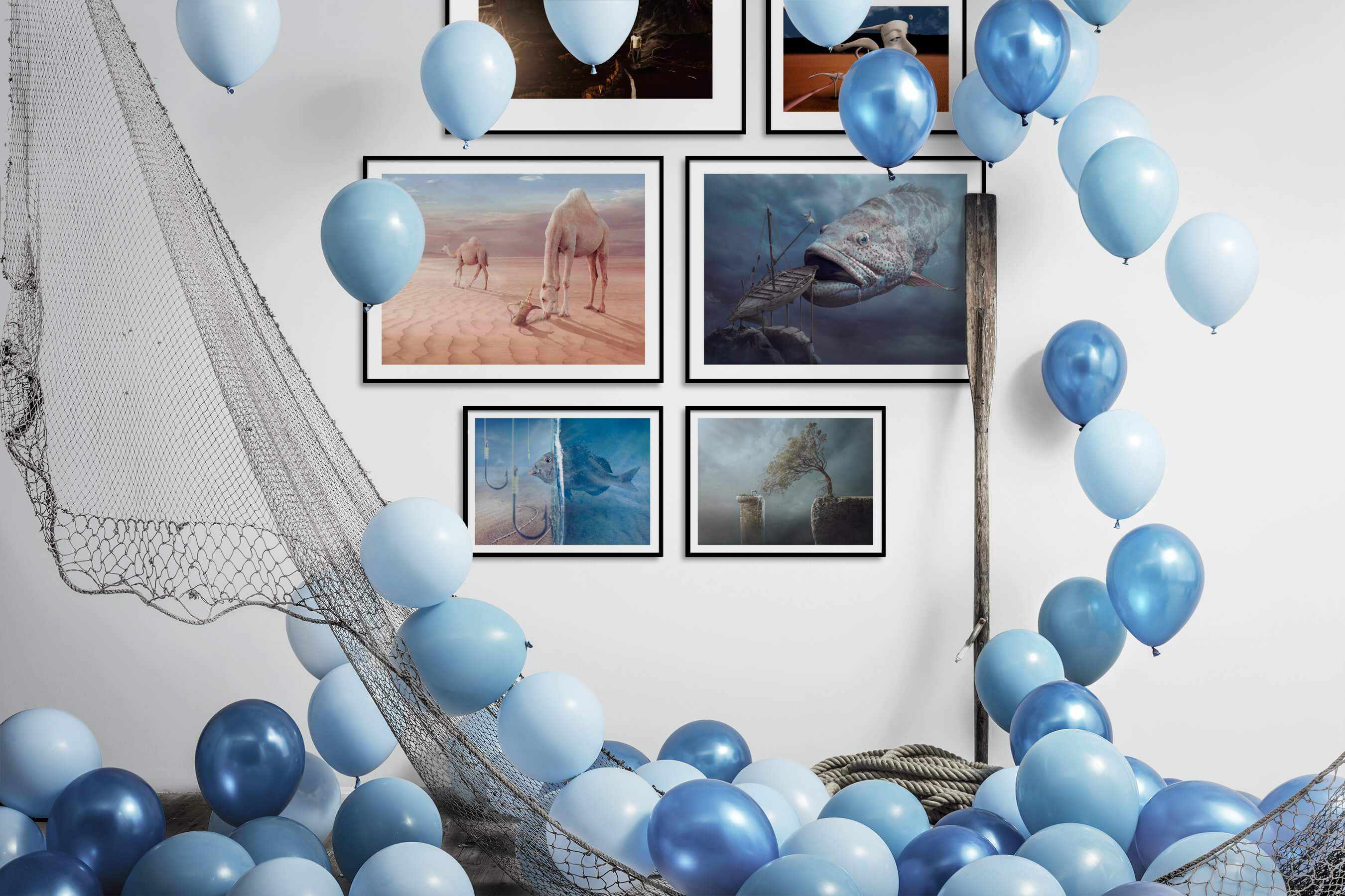 Gallery wall idea with six framed pictures arranged on a wall depicting Artsy, Animals, Beach & Water, For the Minimalist, and Nature