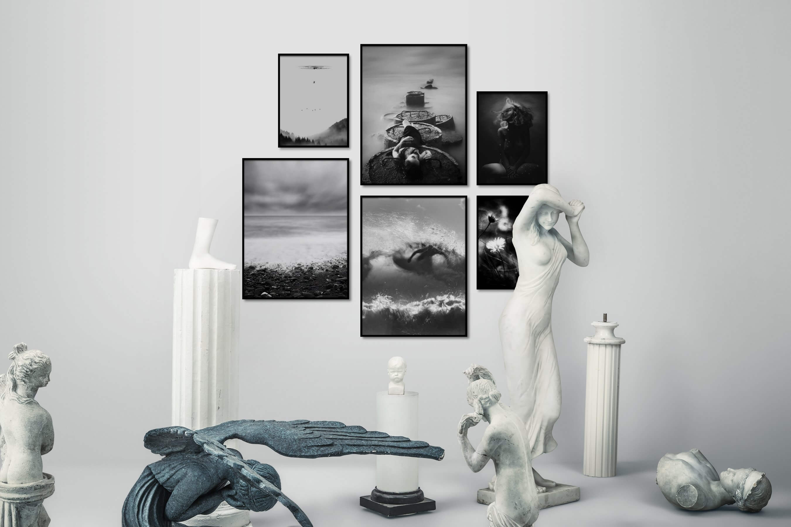 Gallery wall idea with six framed pictures arranged on a wall depicting Artsy, Black & White, For the Minimalist, Nature, Fashion & Beauty, Beach & Water, Mindfulness, Dark Tones, and Flowers & Plants