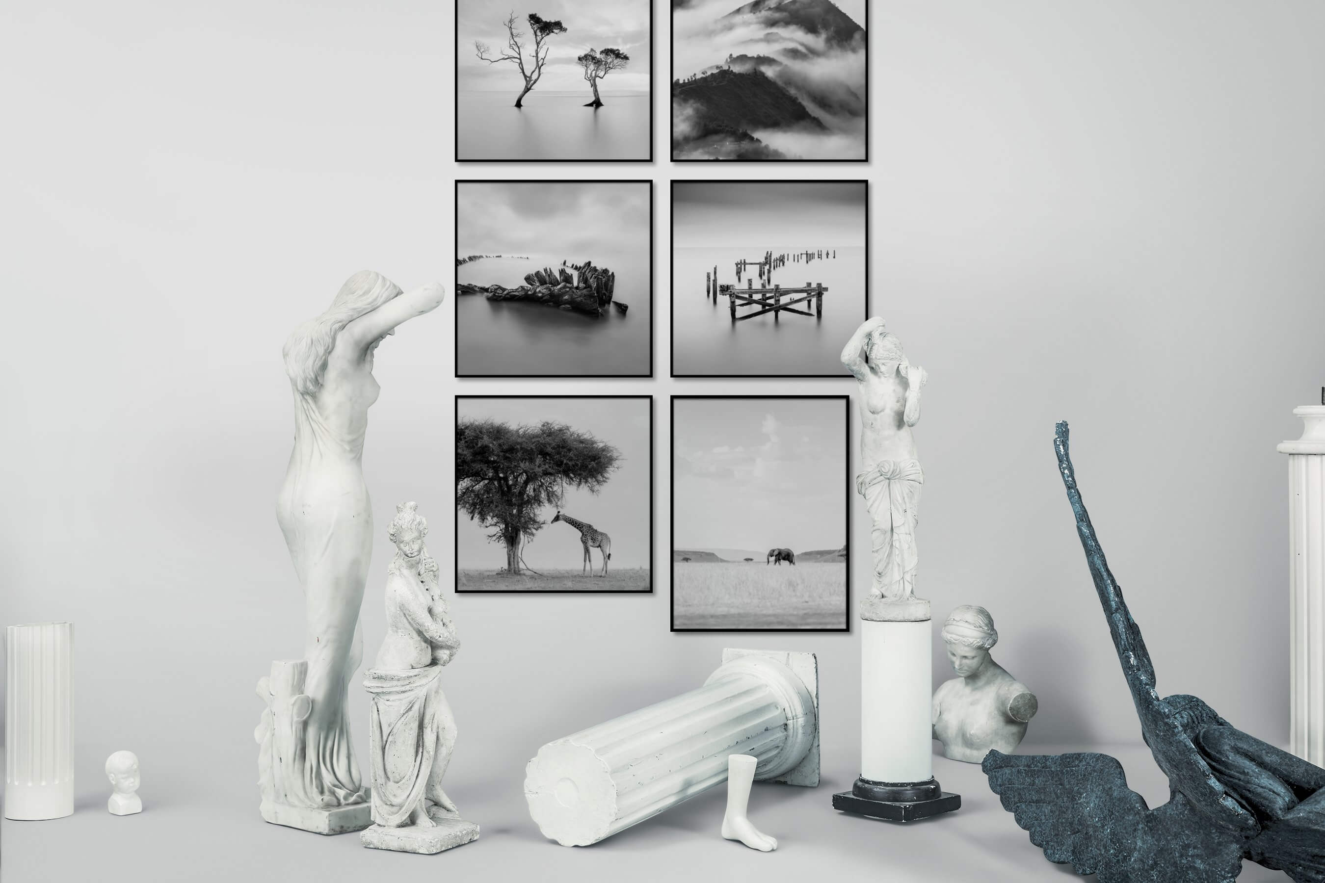 Gallery wall idea with six framed pictures arranged on a wall depicting Black & White, For the Minimalist, Nature, Mindfulness, Beach & Water, and Animals
