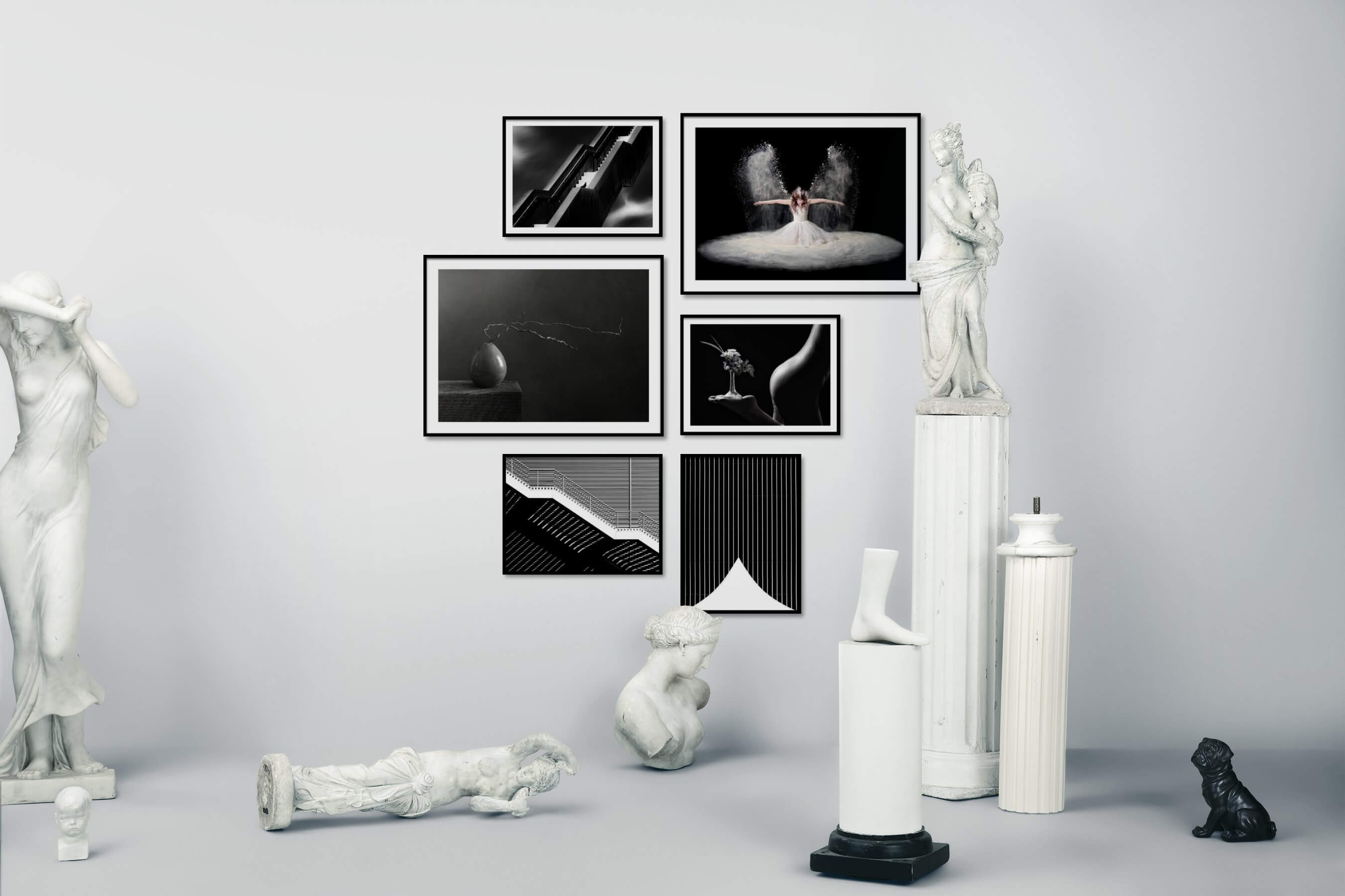 Gallery wall idea with six framed pictures arranged on a wall depicting Black & White, For the Moderate, Fashion & Beauty, For the Minimalist, and Flowers & Plants